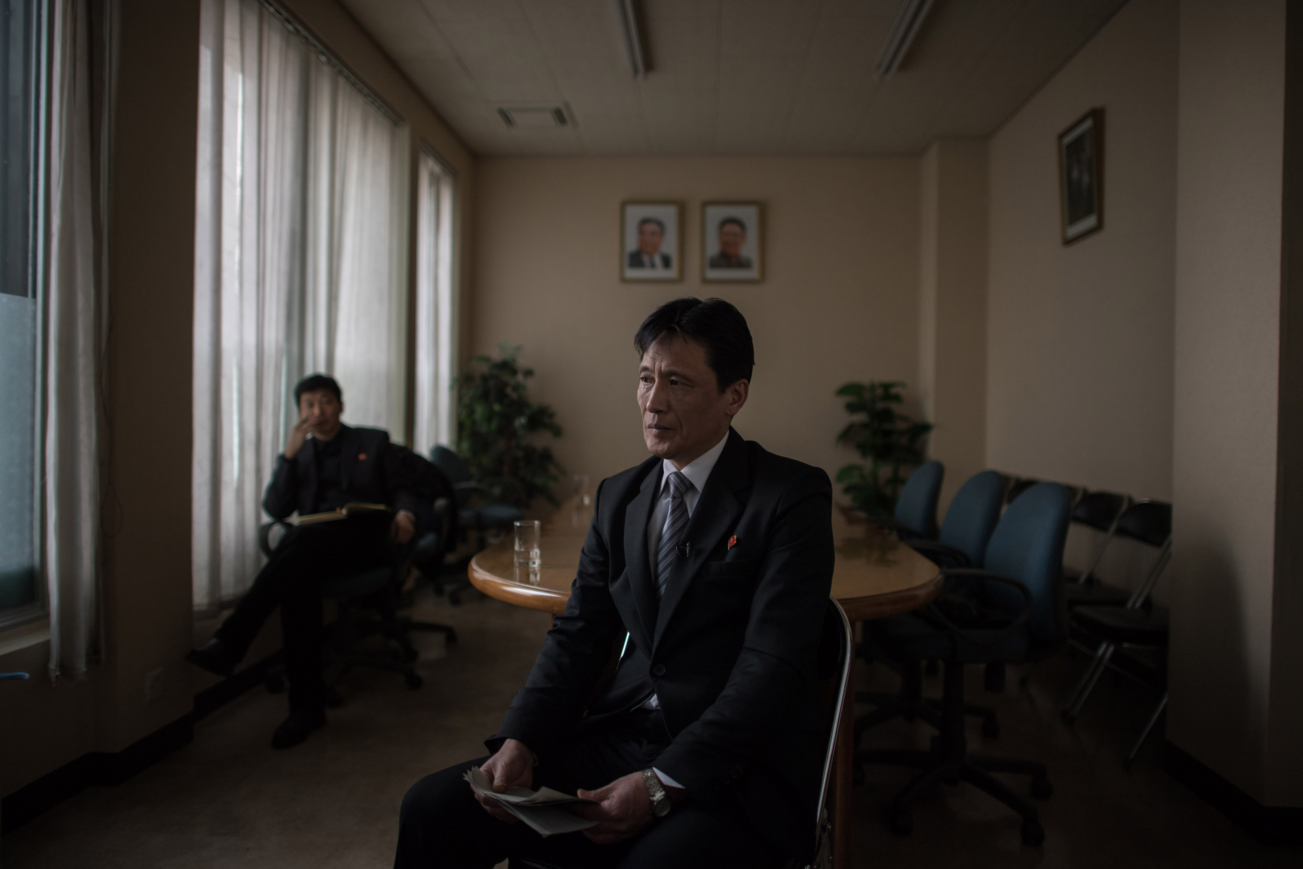 Ri Sun-Chol, chief of the economic research institute of the North Korea's Academy of Social Sciences speaks to AFP in Pyongyang on Feb. 21, 2017. A North Korean state economic official sought to play down the impact of China's shock announcement that it was suspending coal imports from the country for the rest of the year.