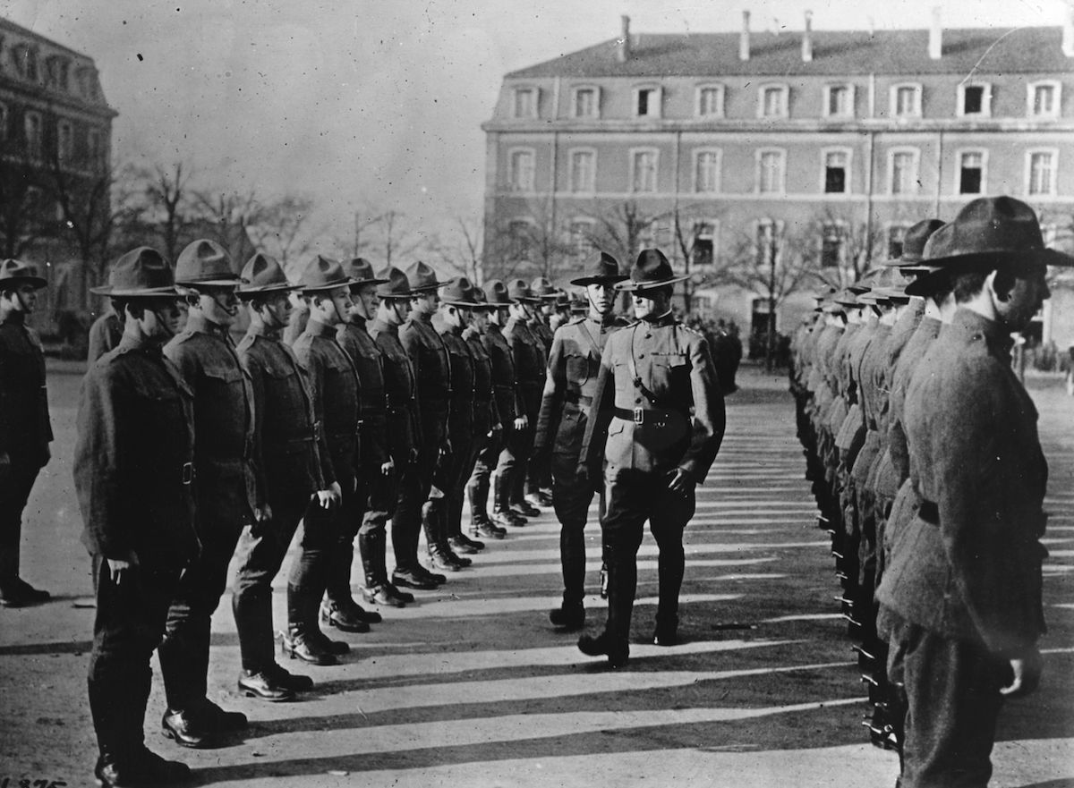 American General Pershing (1860 - 1948) on a tour of inspection circa 1917