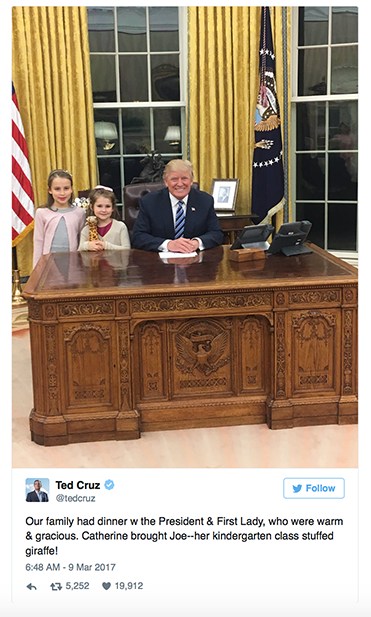 Senator Ted Cruz tweets a photo of his daughters with President Donald Trump in the oval office on March 9, 2017.