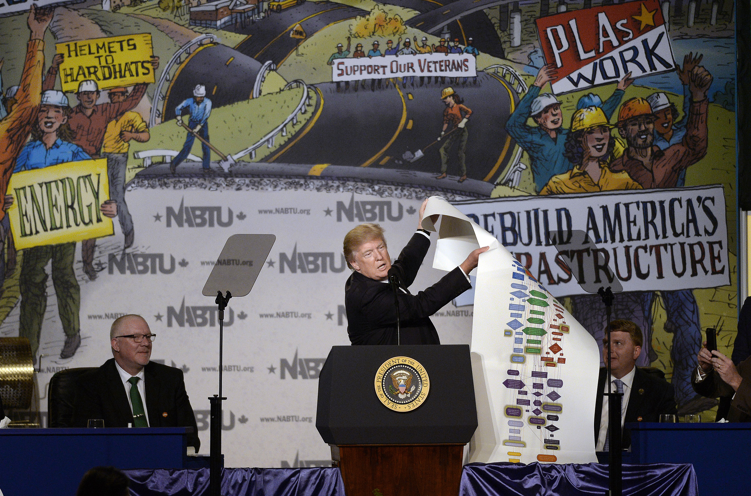 U.S. President Donald Trump speaks while holding up a chart during the 2017 North America's Building Trades Unions National Legislative Conference in Washington, D.C., U.S., on April 4, 2017.