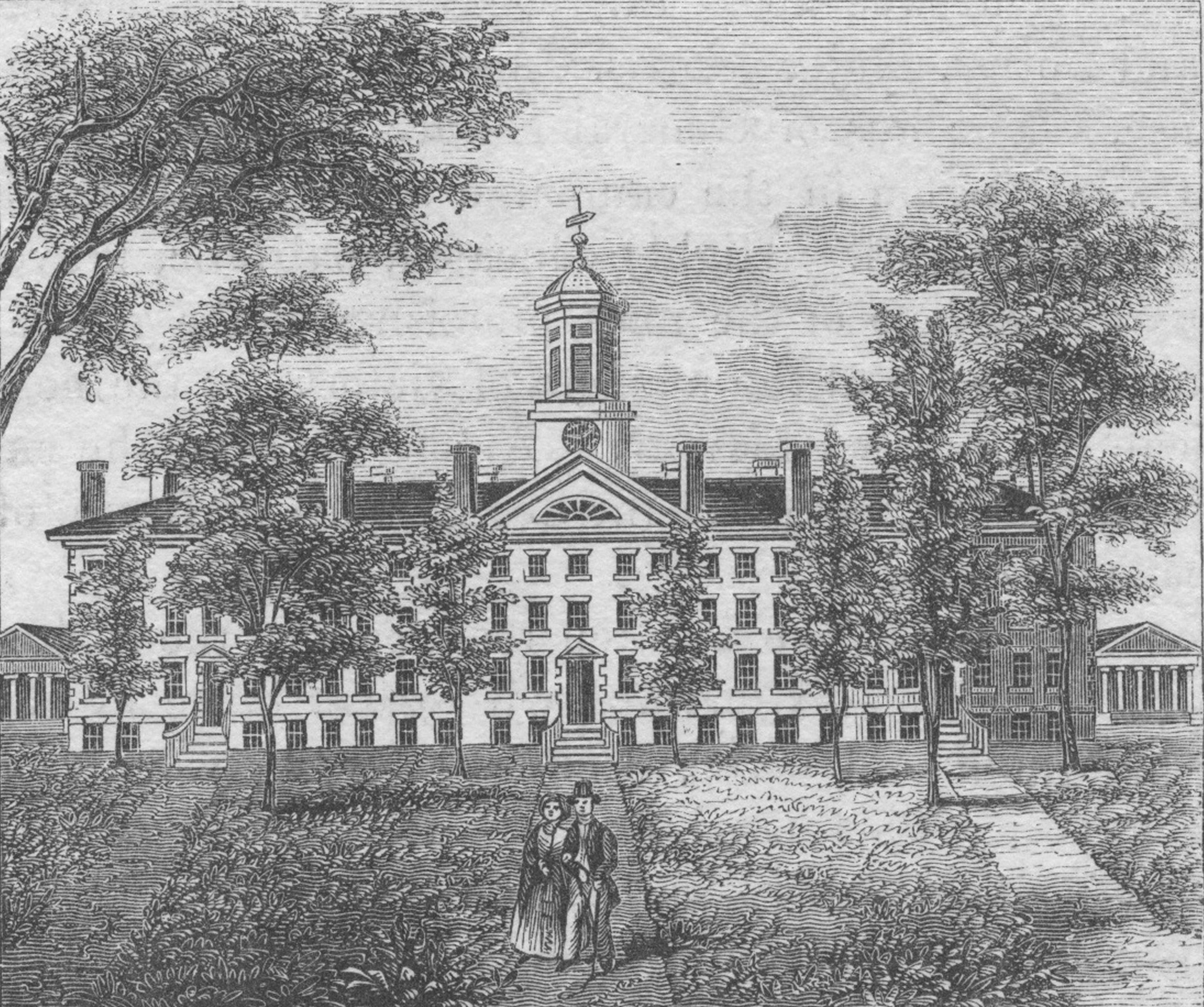 An engraving (circa 1800) depicting the exterior of Nassau Hall at Princeton University, which was constructed in 1756 and is the oldest building on the campus.