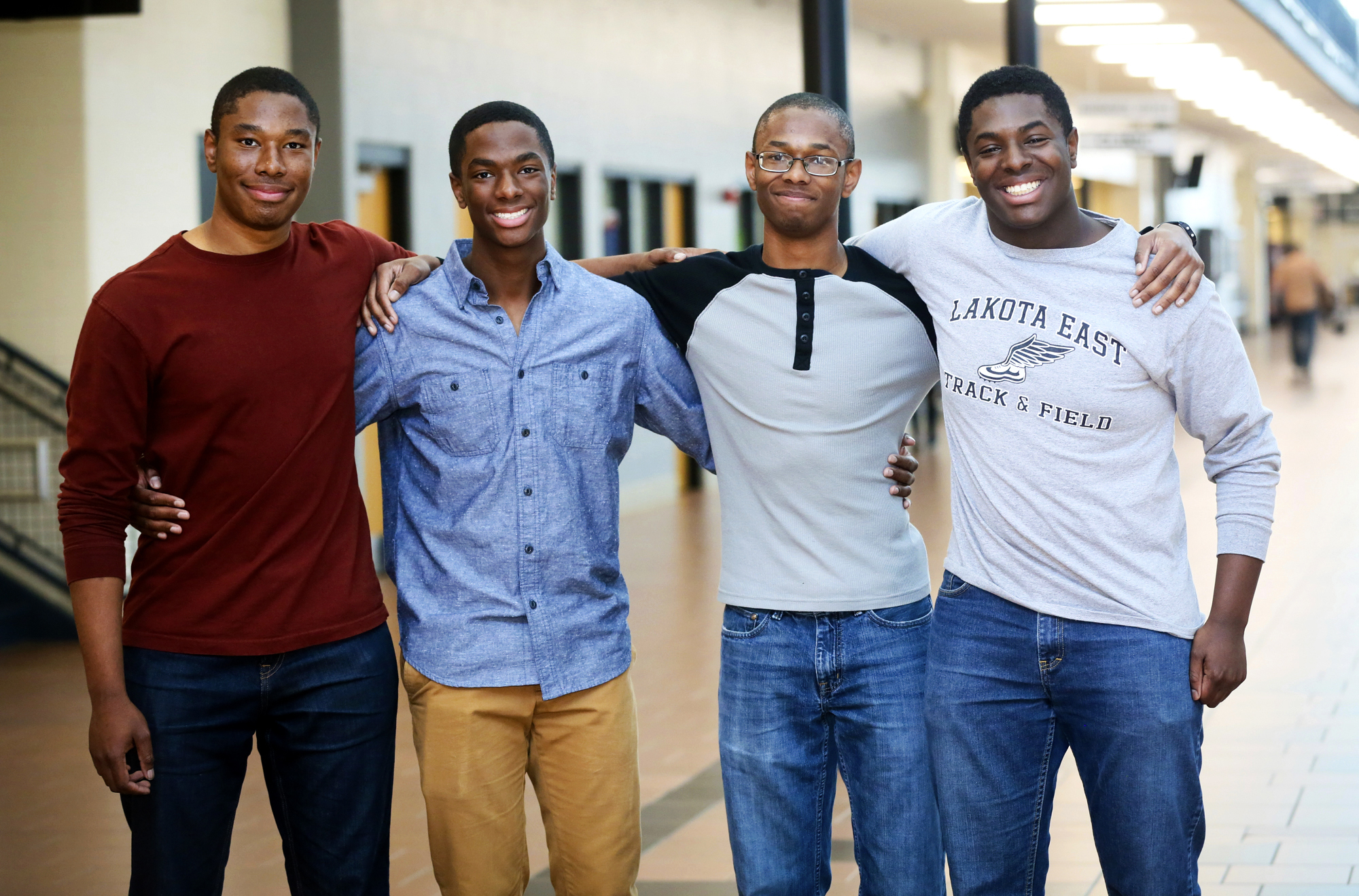 Lakota East seniors and quadruplet brothers from left, Zachary, Aaron, Nigel, and Nick Wade at Lakota East High School in Liberty Township, Ohio, on April 5, 2017.