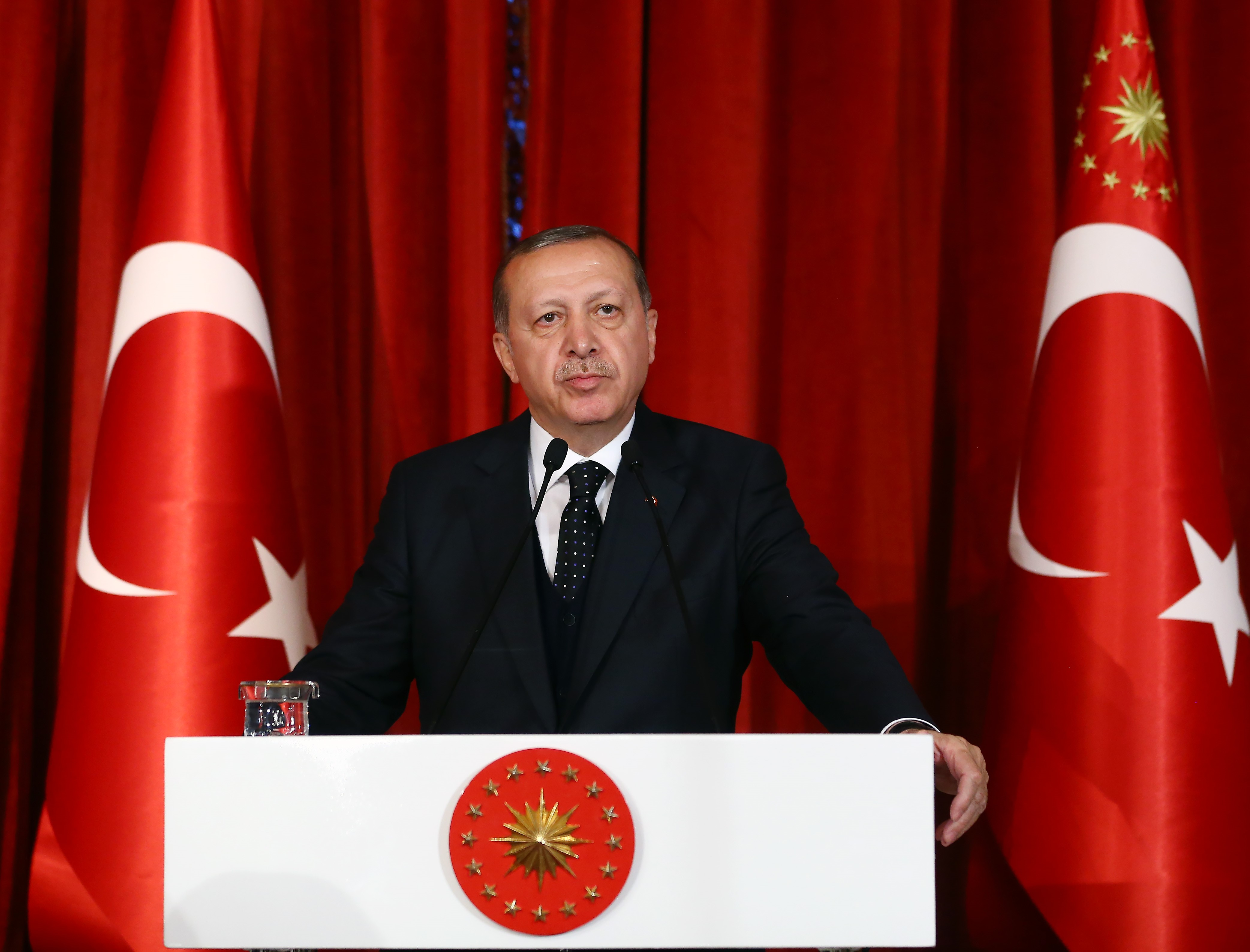 Turkish President Recep Tayyip Erdogan speaks during a gala dinner marking the 55th Foundation Anniversary of Constitutional Court at Historic Beykoz Pavilion in Istanbul, Turkey on April 27, 2017.
