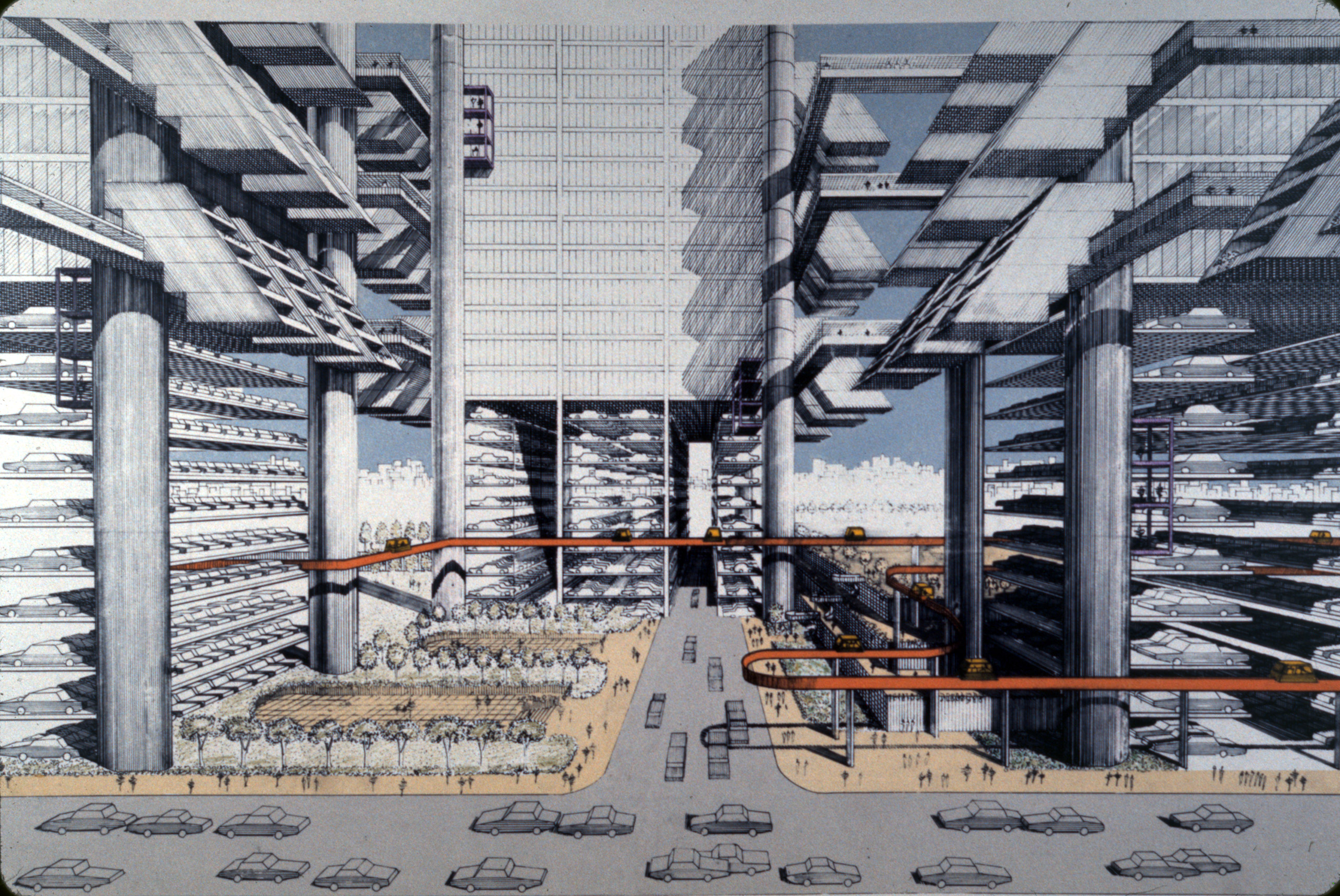 Concept renderings of Robert Moses' proposed LOMEX (Lower Manhattan Expressway).