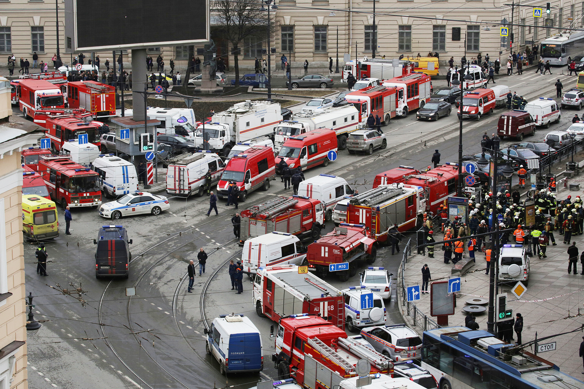 Emergency services attend the scene following explosions in two train carriages in St. Petersburg, Russia, on April 3, 2017.