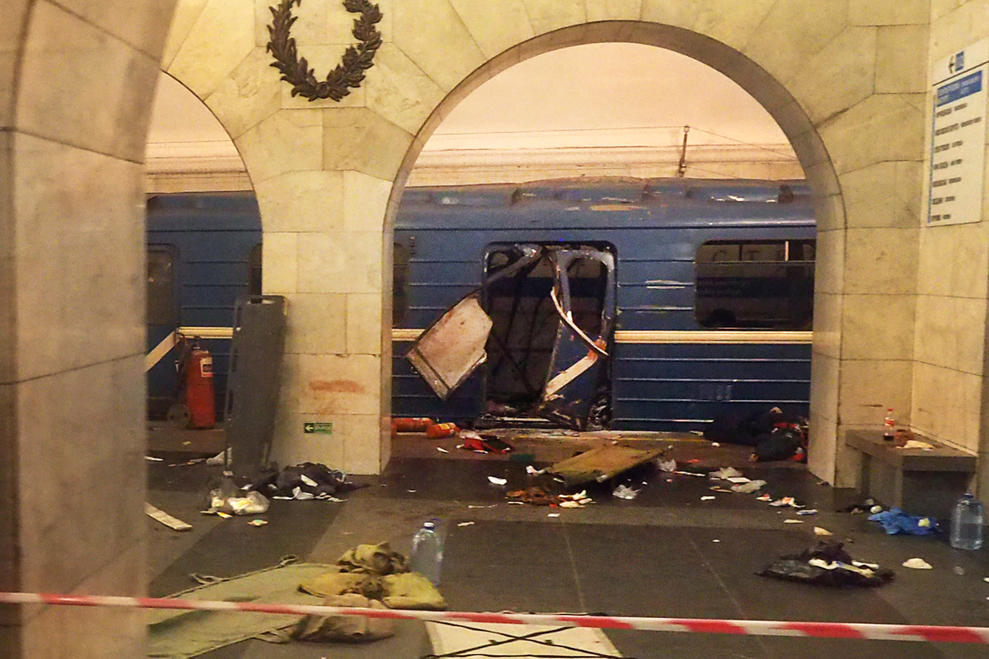 A damaged train carriage from a blast at Technological Institute metro station in St. Petersburg, Russia, on April 3, 2017.