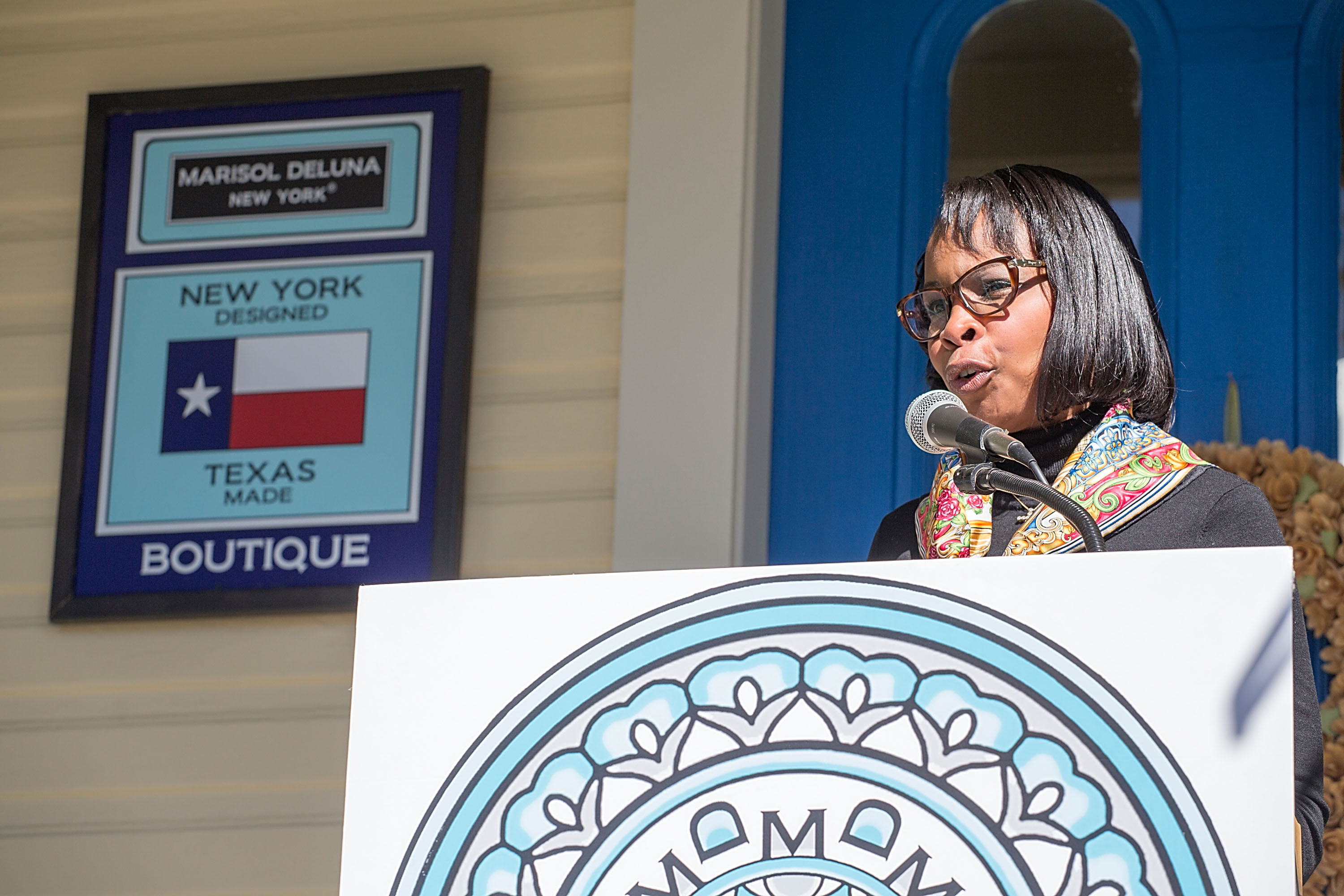 San Antonio Mayor Ivy R. Taylor speaks during the grand opening of Marisol Deluna New York Design Studio and Educational Foundation at La Villita Historic Art Village on November 18, 2015 in San Antonio, Texas.
