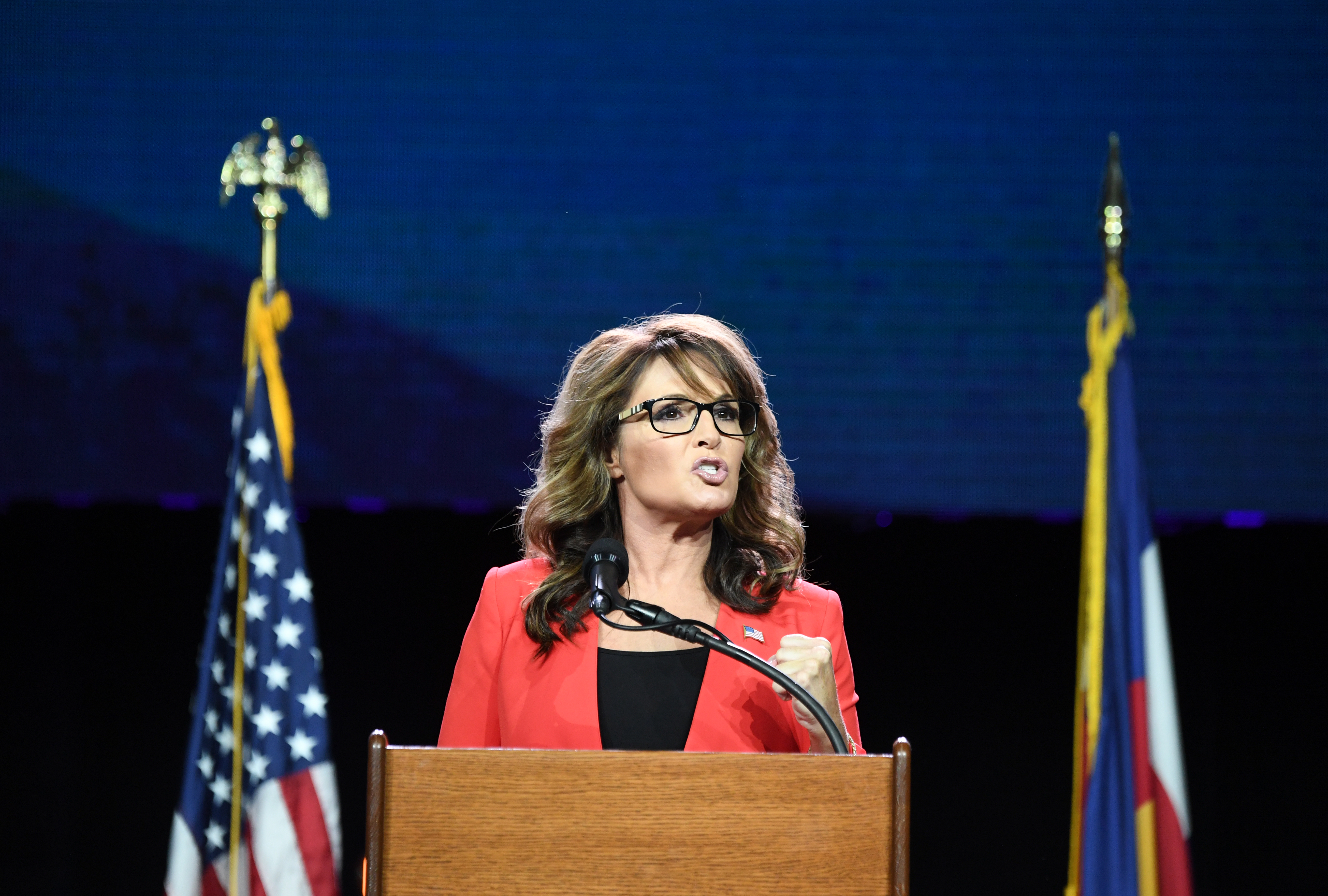 Former GOP vice presidential candidate Sarah Palin speaks during the 2016 Western Conservative Summit the Colorado Convention Center in Denver, July 1, 2016.