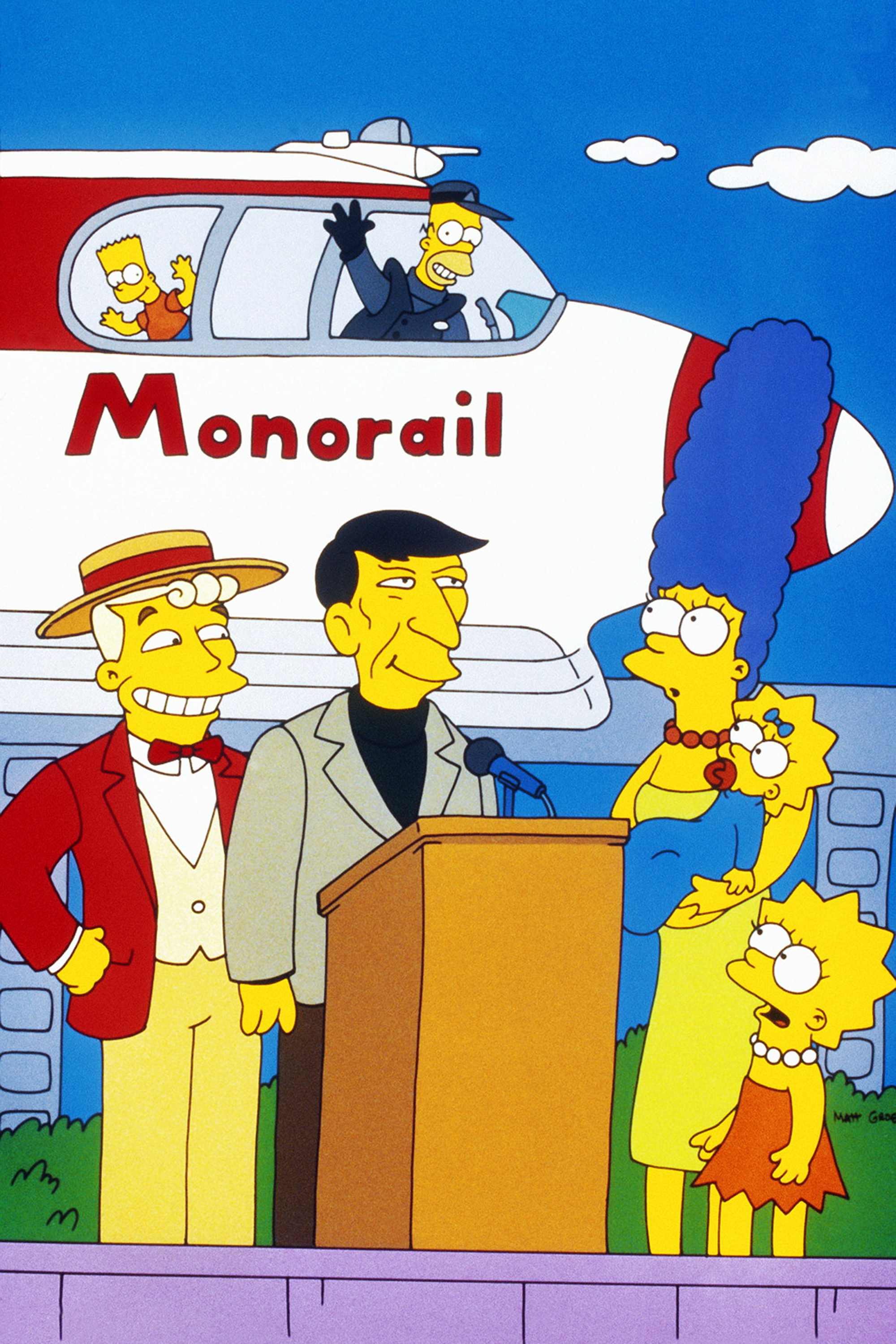 """<b>Leonard Nimoy:</b> Leonard Nimoy made his first cameo as himself in the classic episode """"Marge vs. the Monorail"""" in 1993. Nimoy comes to Springfield as a guest of honor for the maiden voyage of the town's fraudulent monorail. Nimoy also appeared in """"The Springfield Files"""" in 1997 as himself. The 2015 episode """"The Princess Guide"""" was dedicated to his memory."""