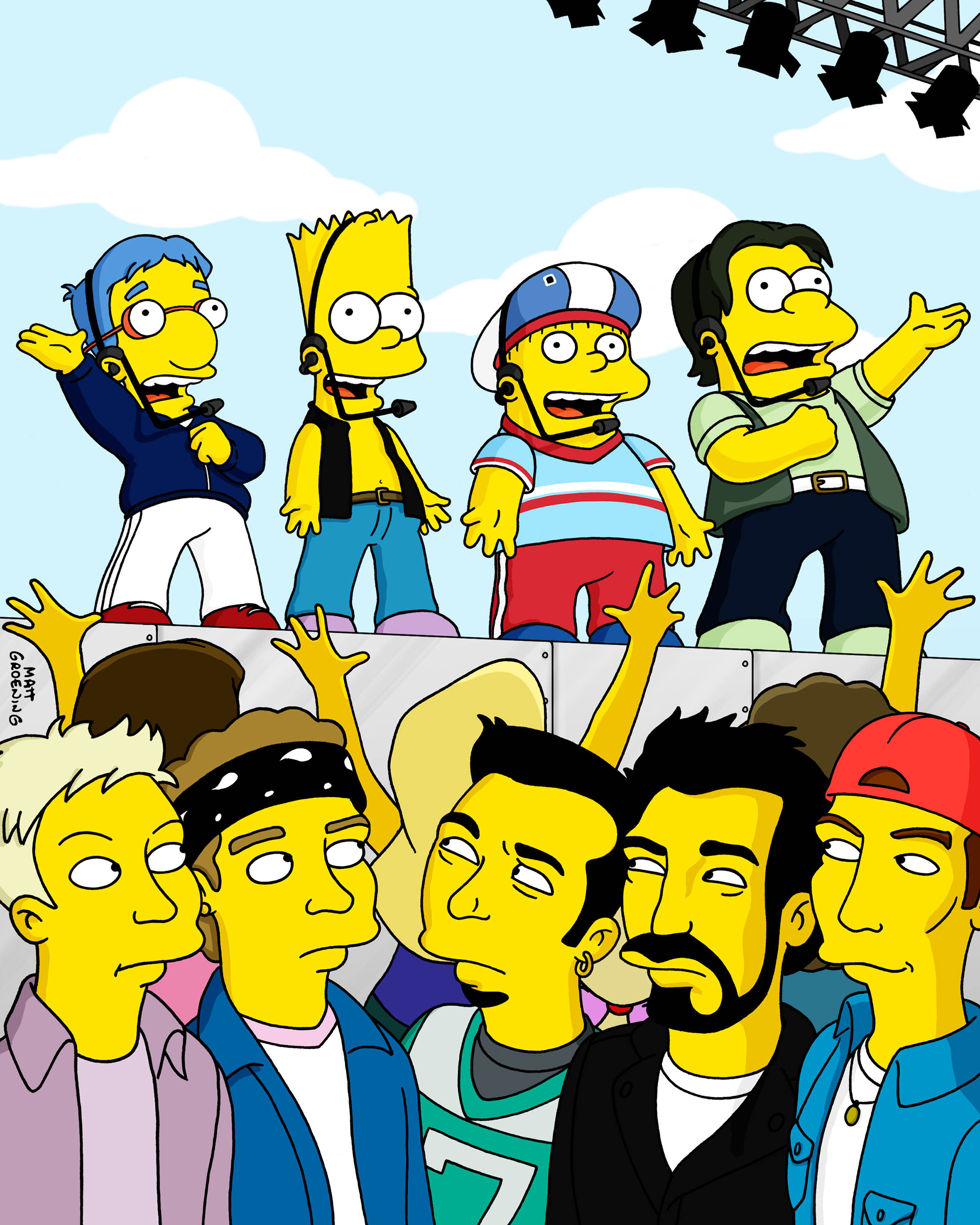 """<b>'N Sync:</b> The '90s boy band 'N Sync made a guest appearance on the season 12 episode """"New Kids on the Blecch"""" in 2001. The episode featured Bart and his friends as part of their own boy band, The Party Posse. The band also appeared through Maggie's memories in the 2002 episode """"Gump Roast."""""""