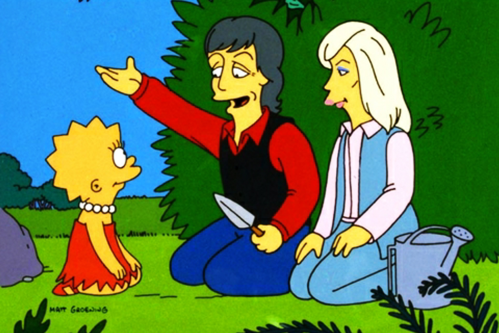 "<b>Paul and Linda McCartney:</b> Paul and Linda McCartney help teach Lisa that it's OK to be a vegetarian in the 1995 episode ""Lisa the Vegetarian."""