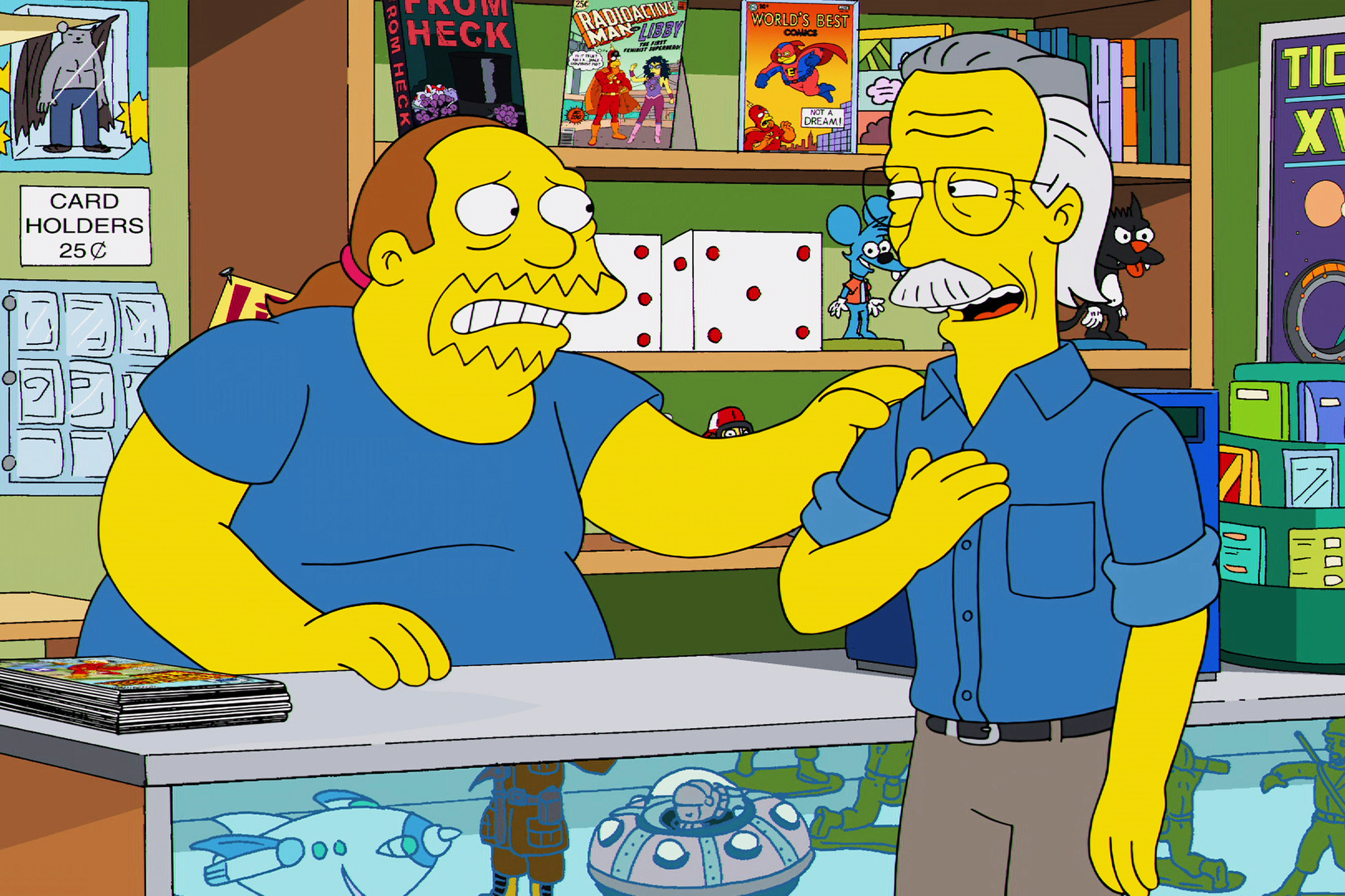 """<b>Stan Lee:</b> The real Stan Lee first guest starred as himself in """"I Am Furious (Yellow)"""" in 2002. He later paid Comic Book Guy a visit, in the tenth episode of the 25th season, """"Married to the Blob."""" He also made an appearance in """"The Caper Chase"""" in 2017 during the opening couch gag."""