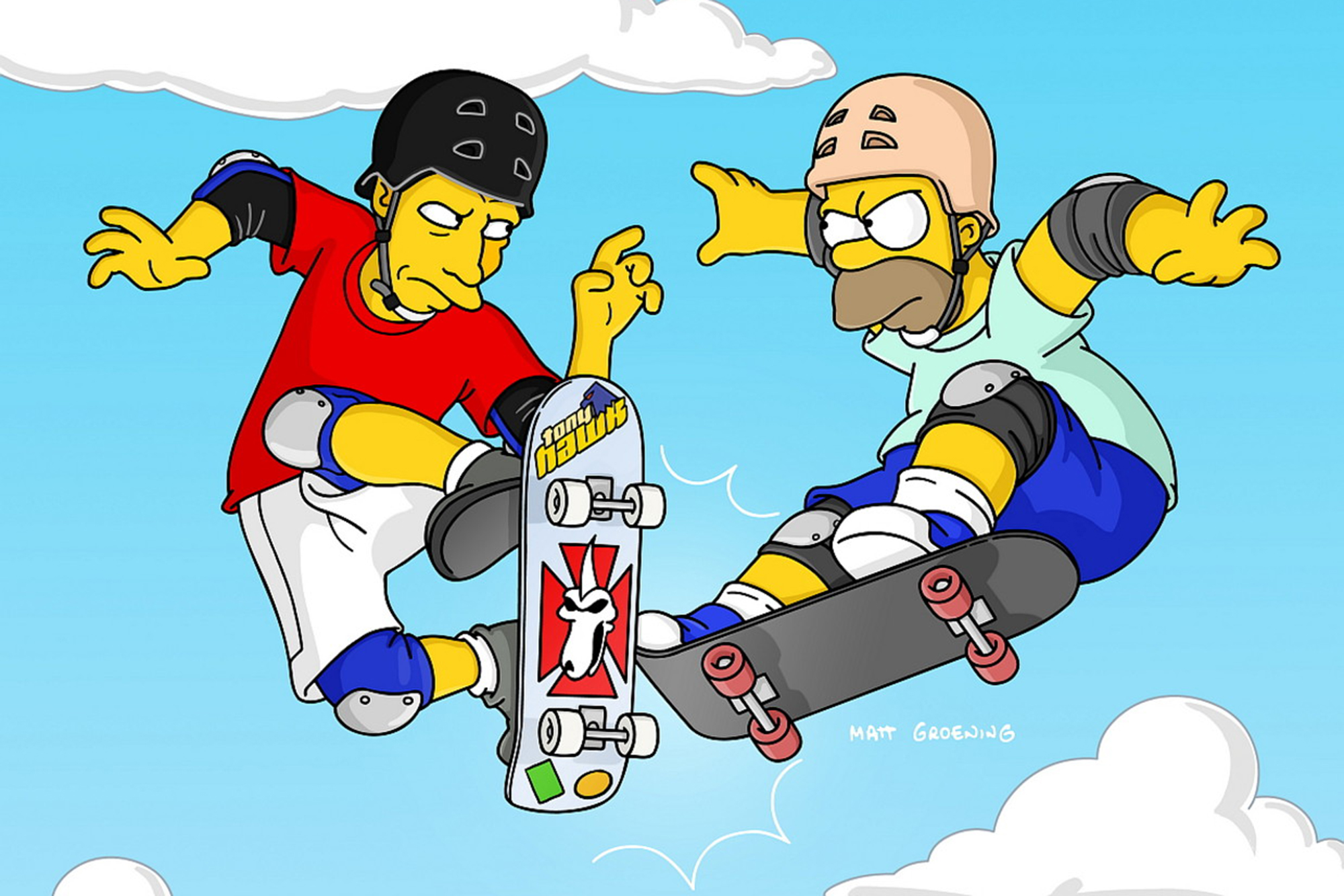 """<b>Tony Hawk:</b> The pro skater appeared as himself in the 2003 episode """"Barting Over,"""" in which Bart gets angry with his dad and moves out, befriending new neighbor Hawk, who lets Homer beat him in a competition so that Bart can move back home."""
