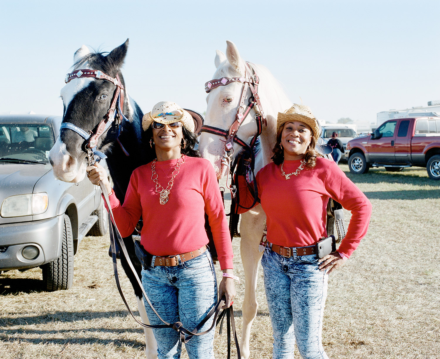 Members of the New Orleans based   Club 504 Girls  pose for a photo at a trail ride in Southern Louisiana. 2014