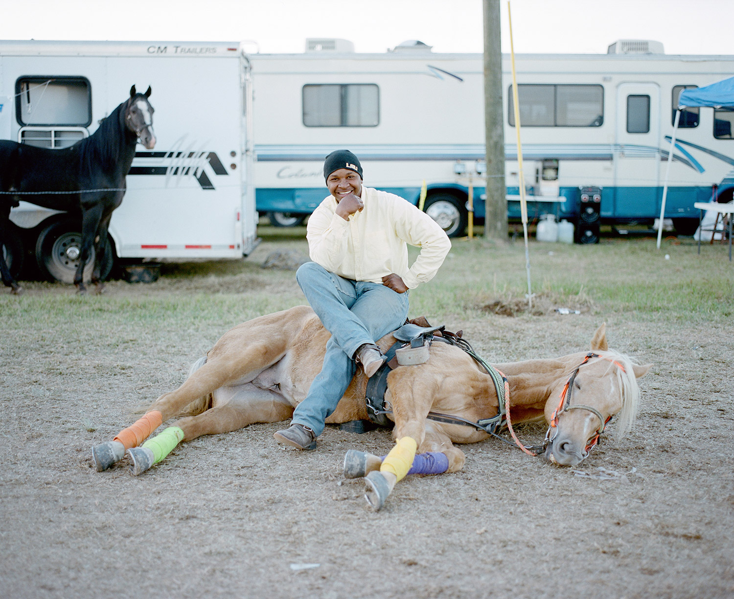 A man shows a trick during a trail ride in Southern Louisiana. 2014