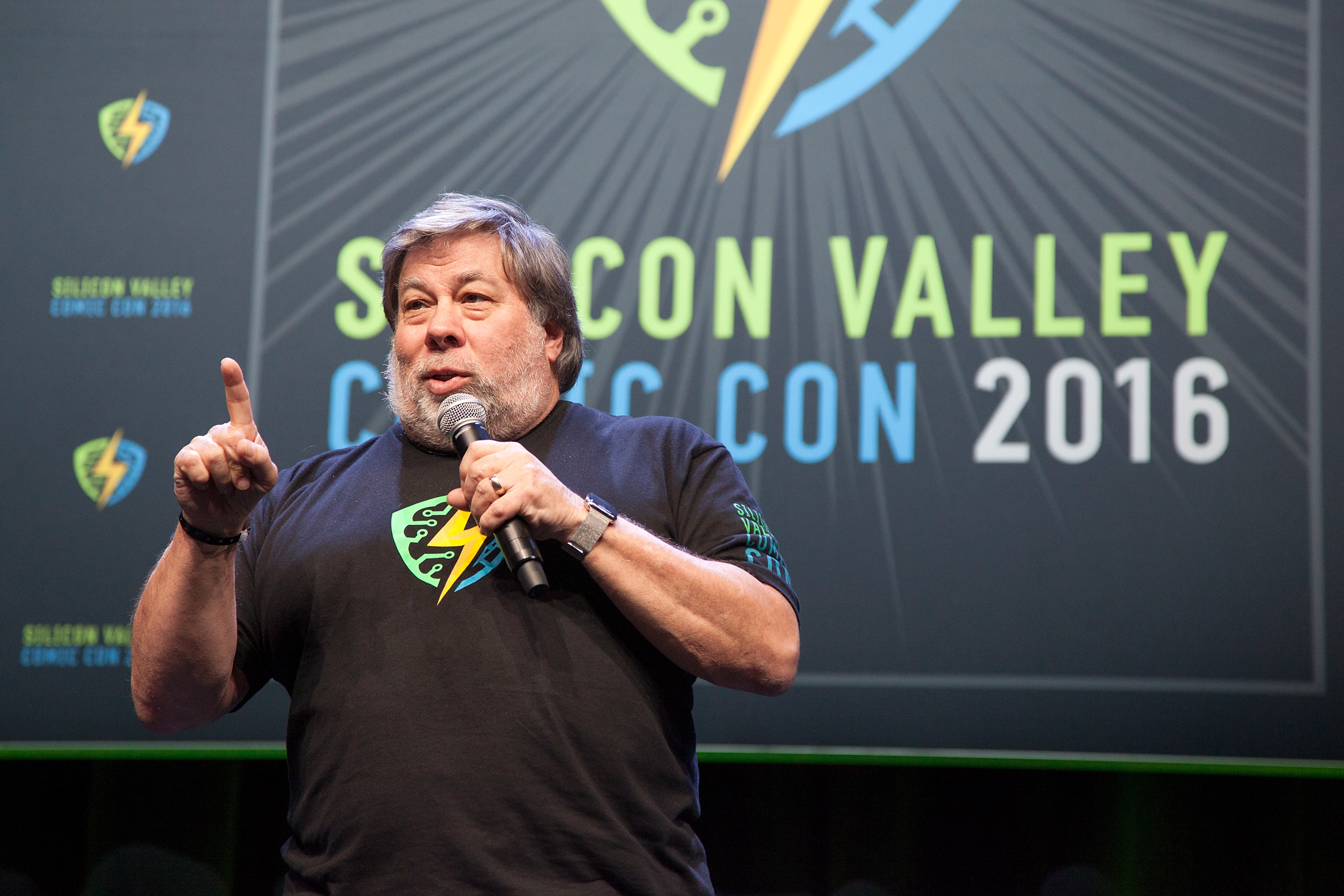 Steve Wozniak addresses the crowd during the closing panel of the Silicon Valley Comic Con on March 20, 2016 in San Jose, Calif.