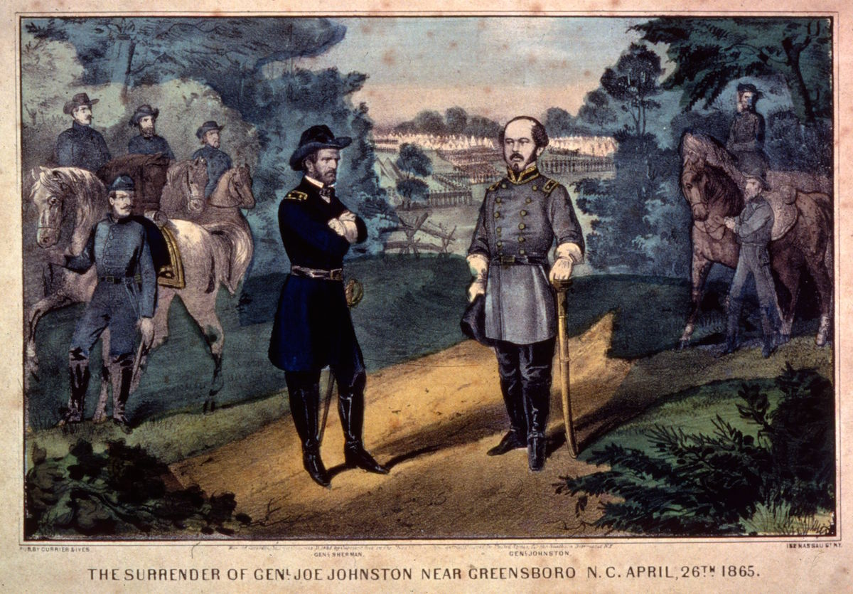 April 26, 1865:  The surrender of Confederate General Joseph Eggleston Johnston (1807 -1891) near Greenboro, North Carolina. Printed by Currier & Ives.