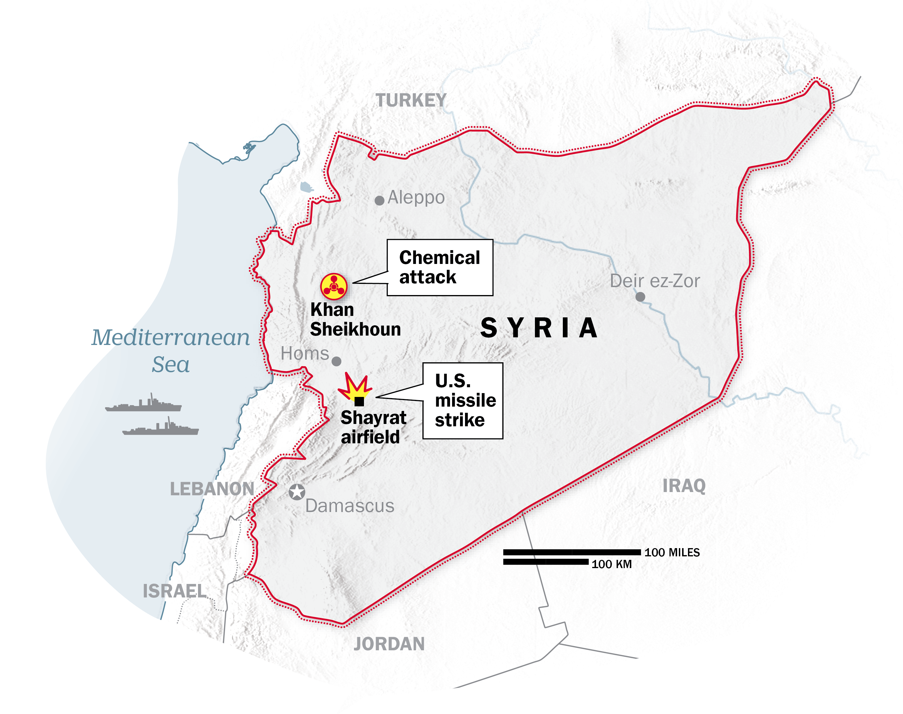 Site of U.S. missile strike on Syrian air base