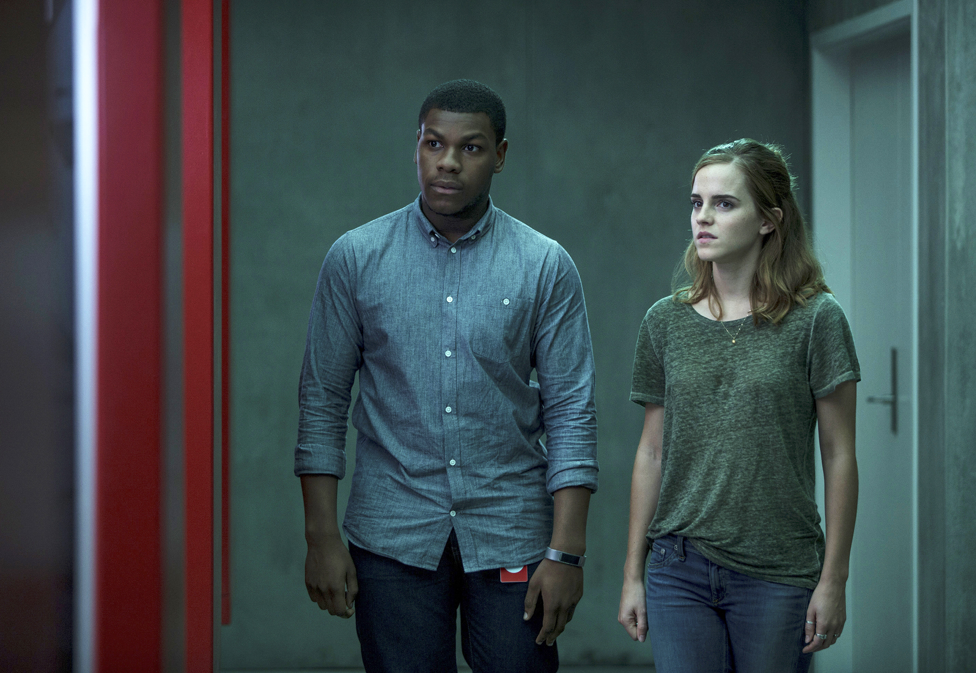 John Boyega, left, and Emma Watson in a scene from The Circle.