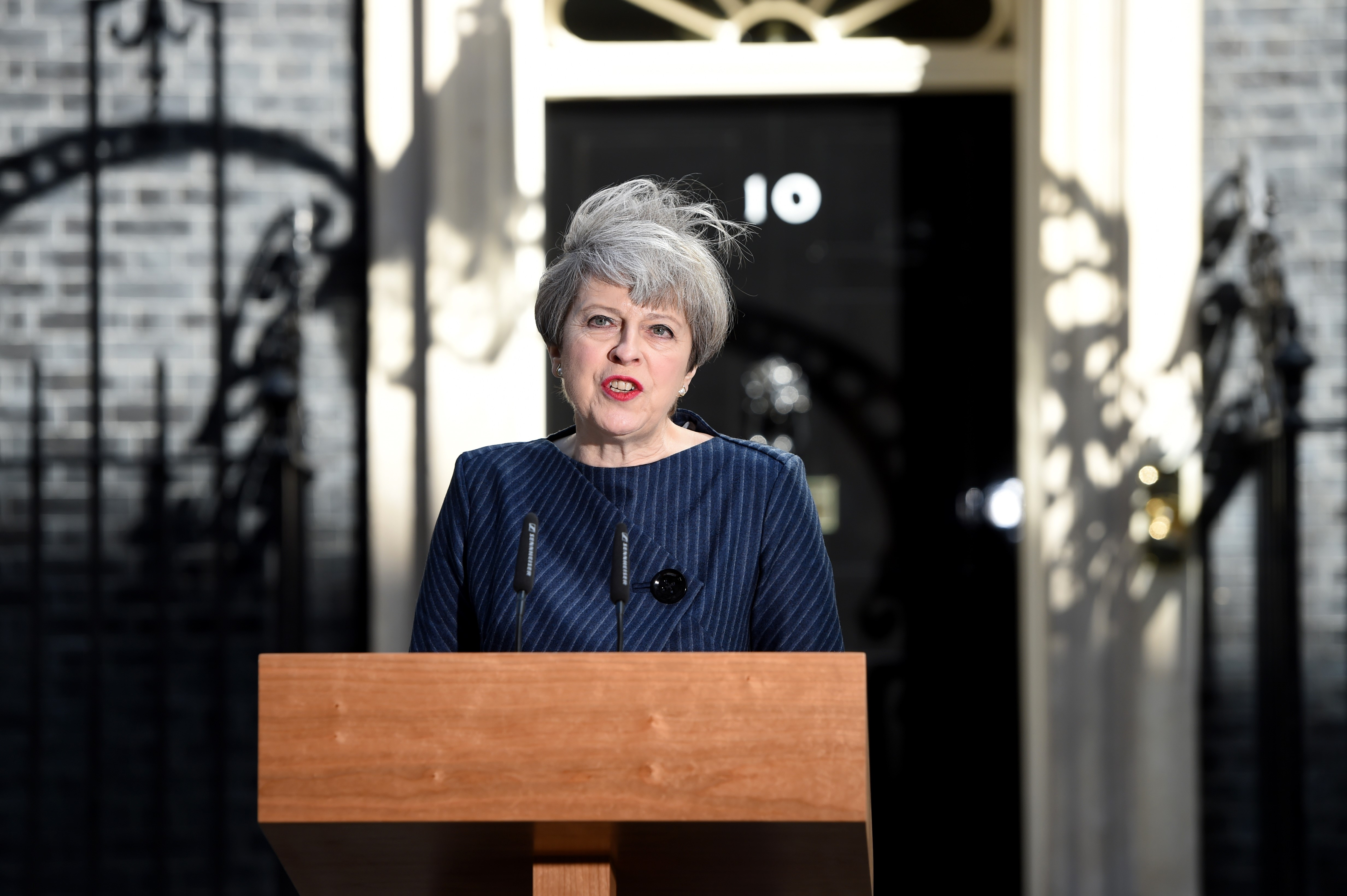 British Prime Minister Theresa May makes a statement to the nation in Downing Street on April 18, 2017 in London, United Kingdom.