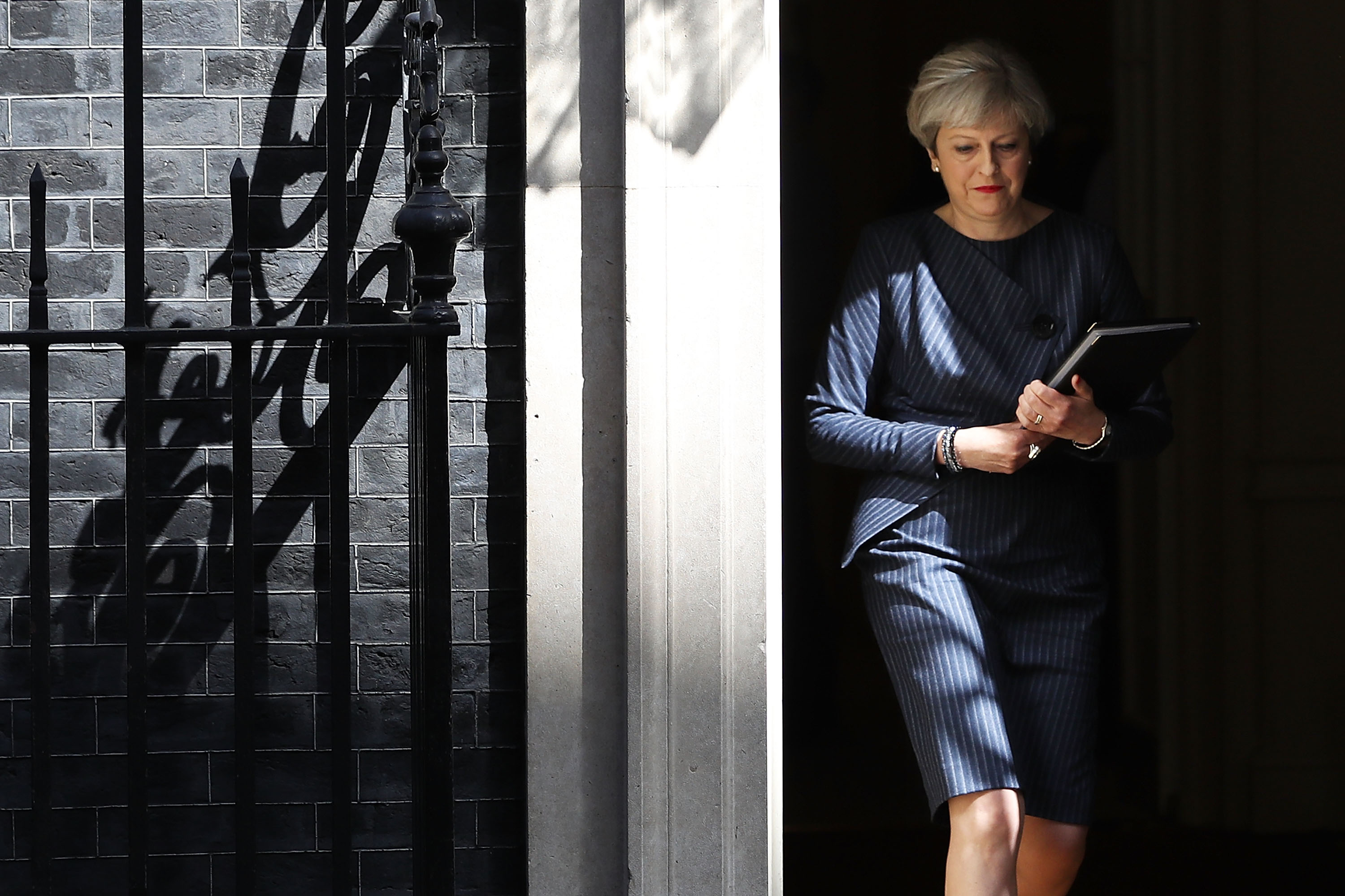 Prime Minister Theresa May prepares to make a statement to the nation in Downing Street on April 18, 2017 in London, United Kingdom.
