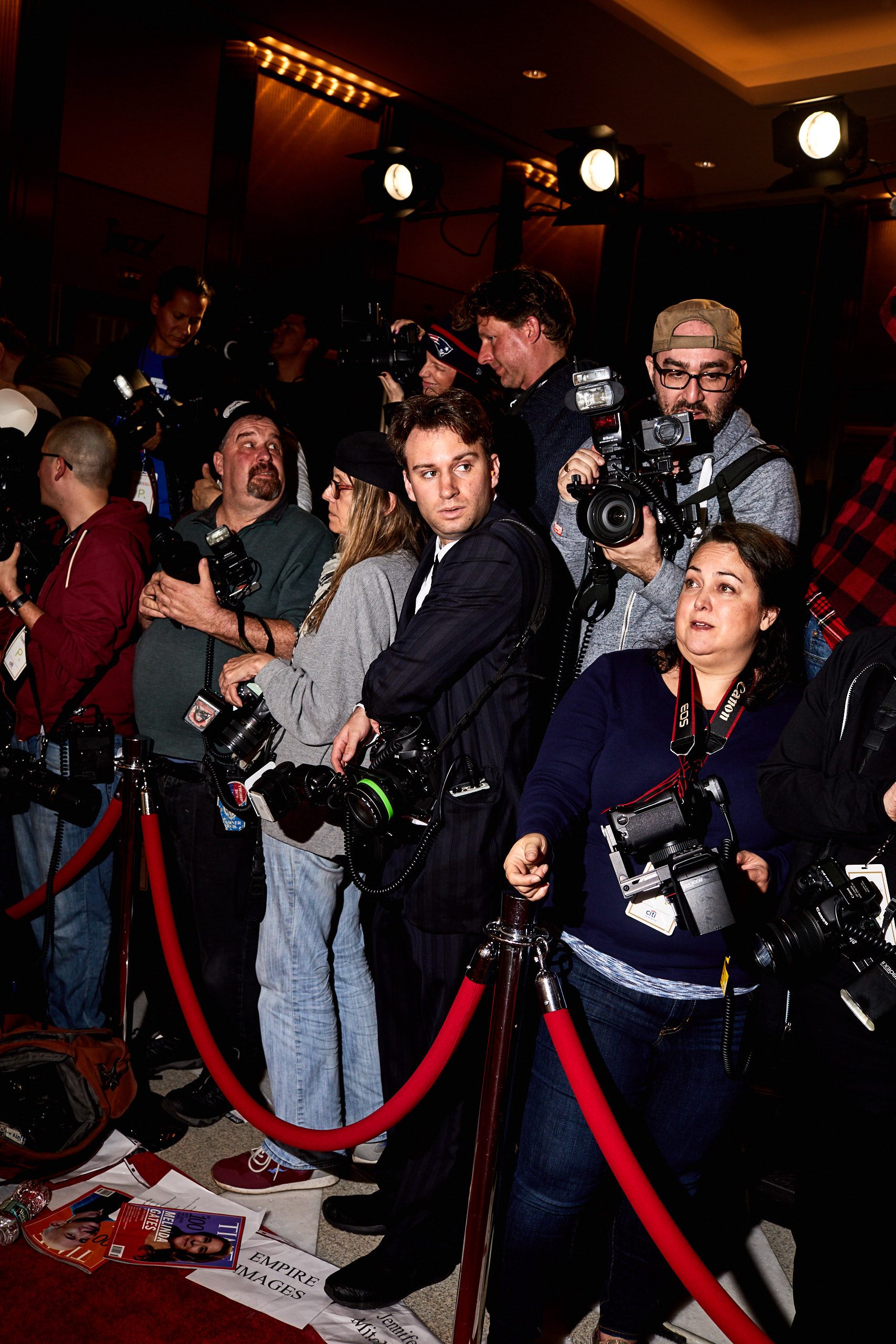 Photographers on the red carpet of the Time 100 Gala at Jazz at Lincoln Center on April 25, 2017 in New York City.