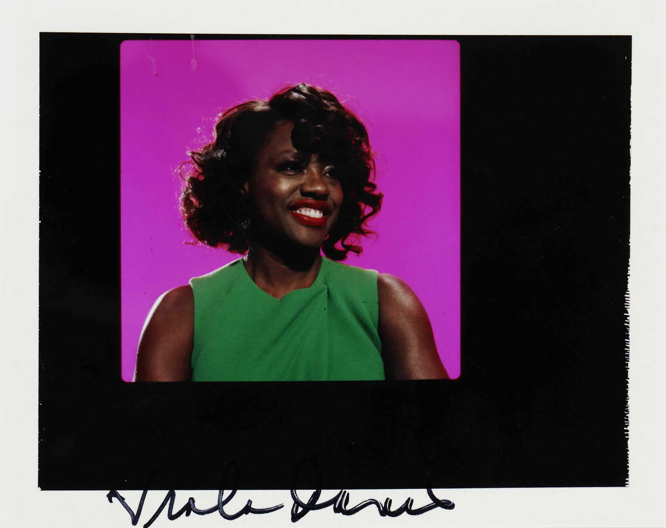 Polaroid of Viola Davis, signed by the actress.