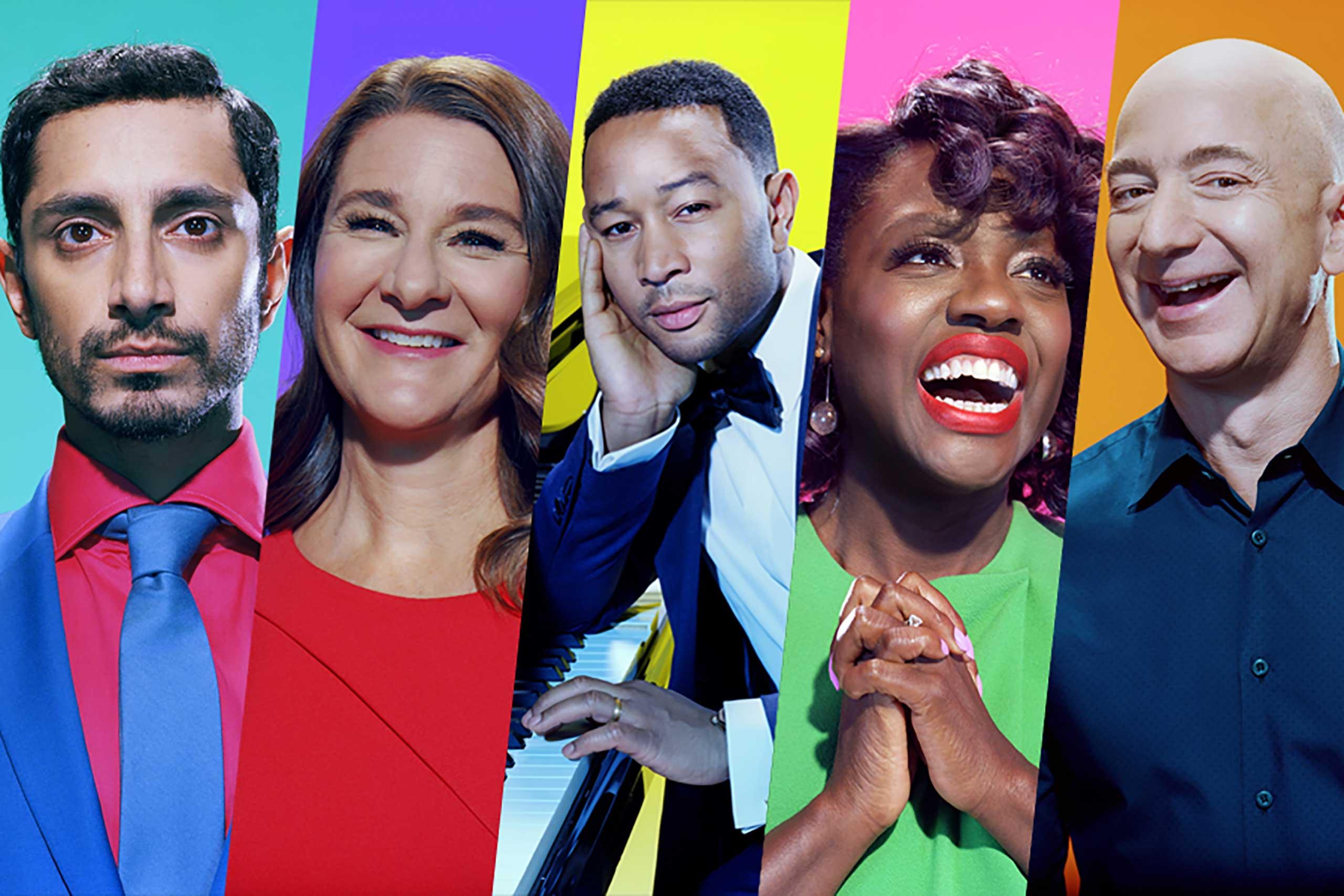 (L-R) Riz Ahmed, Melinda Gates, John Legend, Viola Davis, Jeff Bezos.