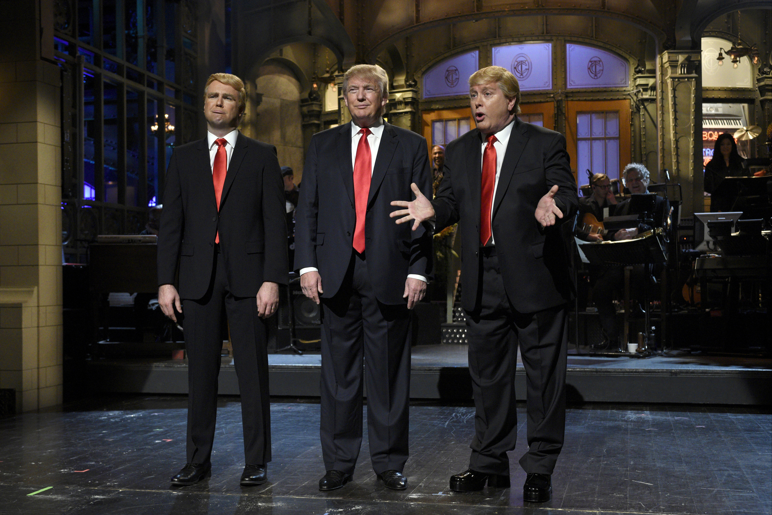 SATURDAY NIGHT LIVE --  Donald Trump  Episode 1687 -- Pictured: (l-r) Taran Killam, Donald Trump, and Darrell Hammond during the monologue on November 7, 2015 -- (Photo by: Dana Edelson/NBC/NBCU Photo Bank via Getty Images)