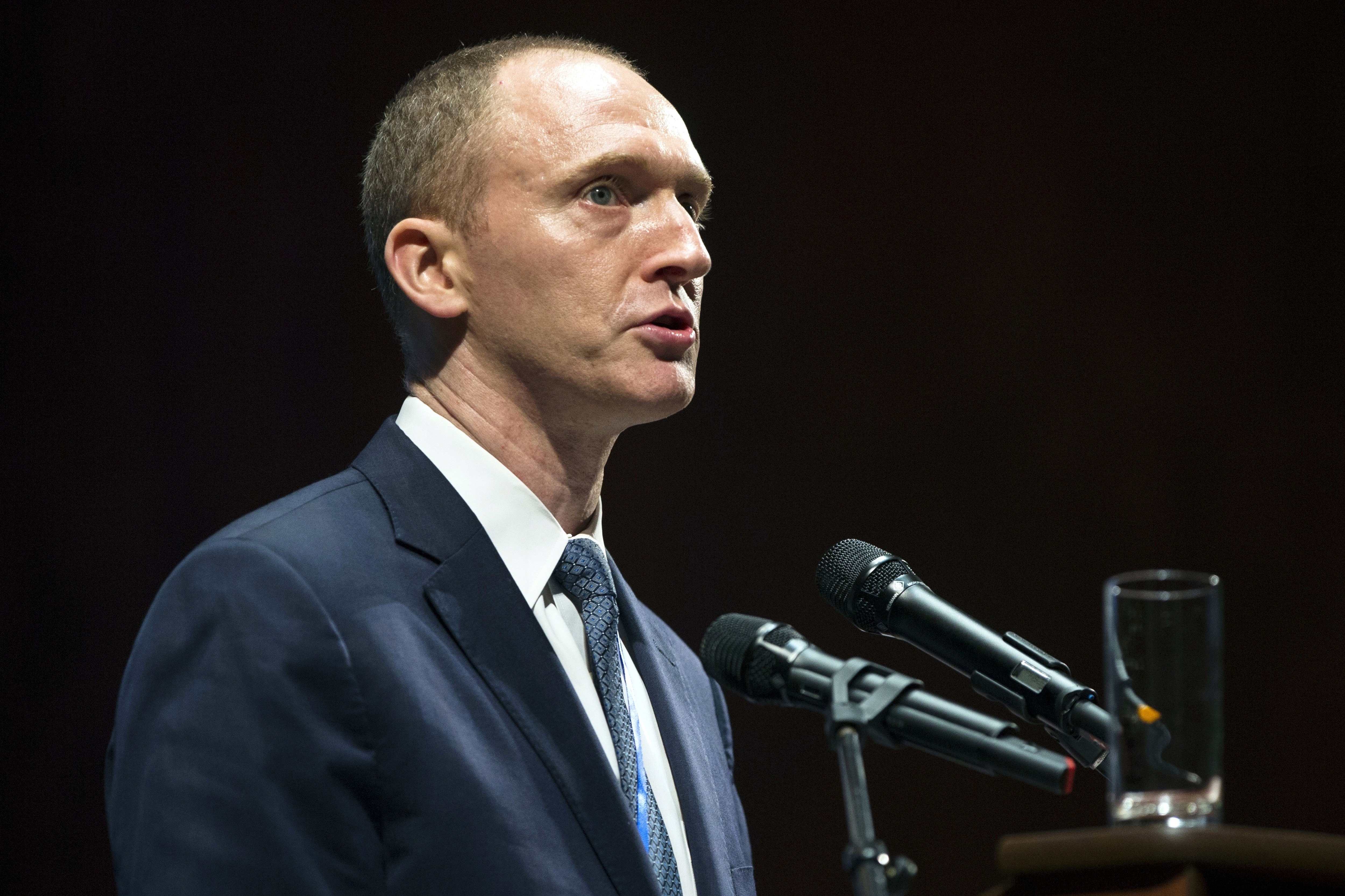 In this July 8, 2016, file photo, Carter Page, then adviser to U.S. presidential candidate Donald Trump, in Moscow, Russia.