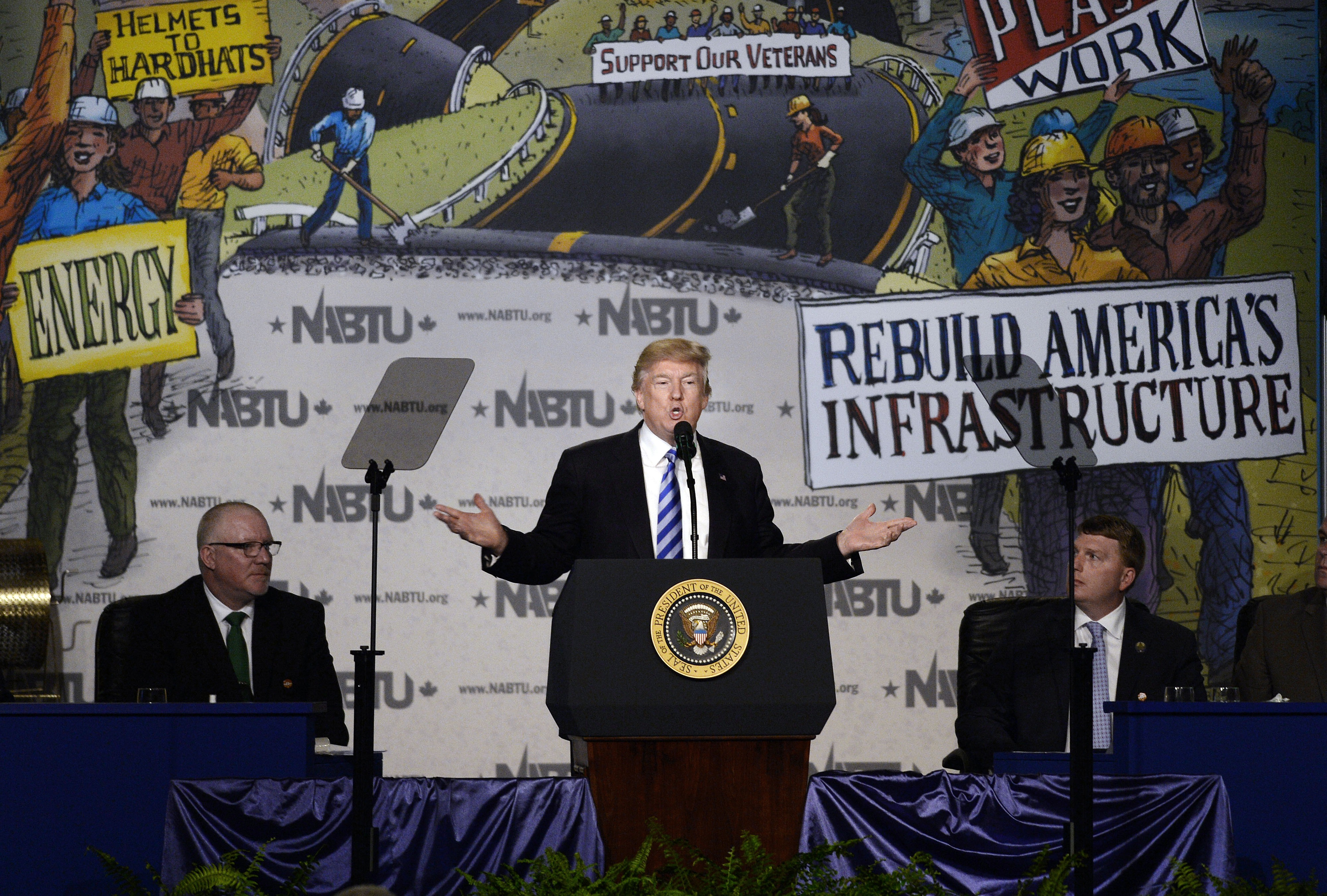 President Donald Trump makes remarks at the 2017 North America's Building Trades Unions National Legislative Conference at the Washington Hilton on April 4, 2017 in Washington.