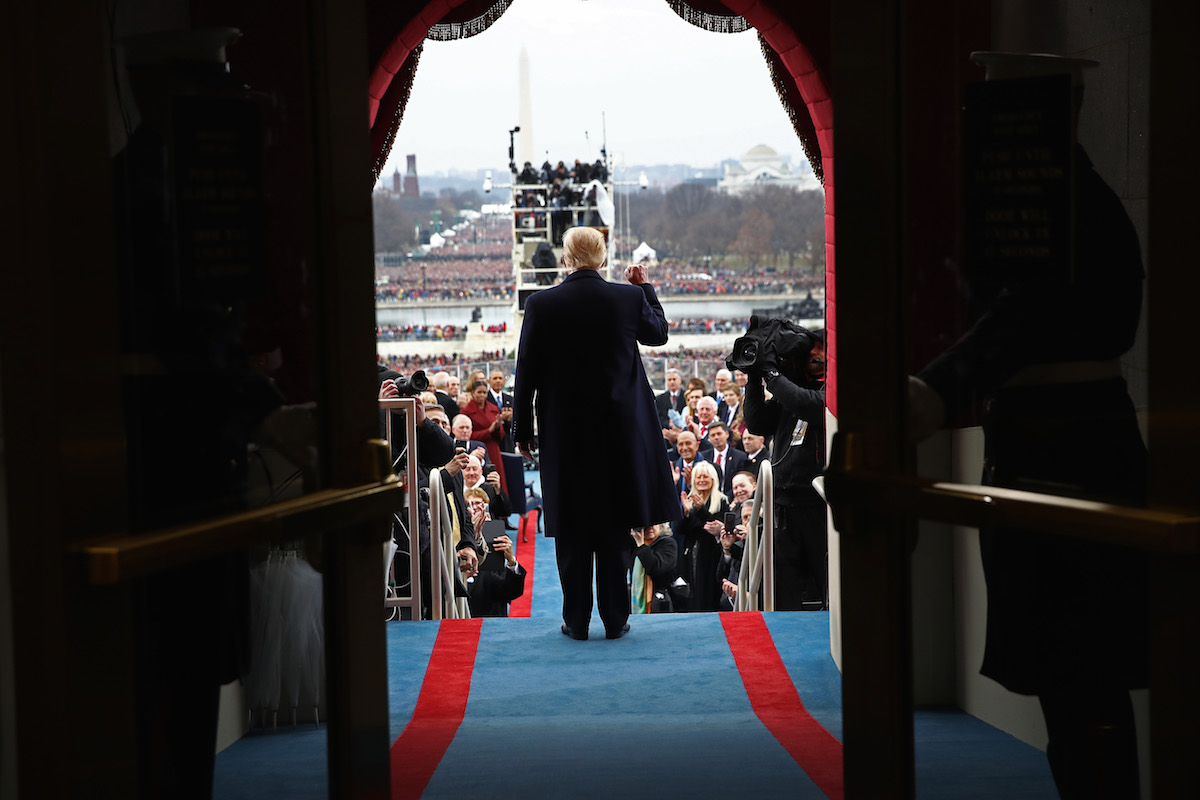 Donald Trump arrives on the West Front of the U.S. Capitol on January 20, 2017 in Washington, D.C., for his Inauguration.