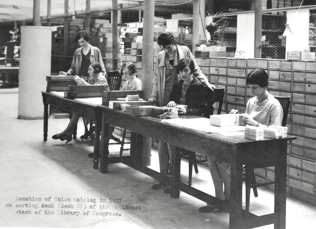 Union catalogers at work, 1927.