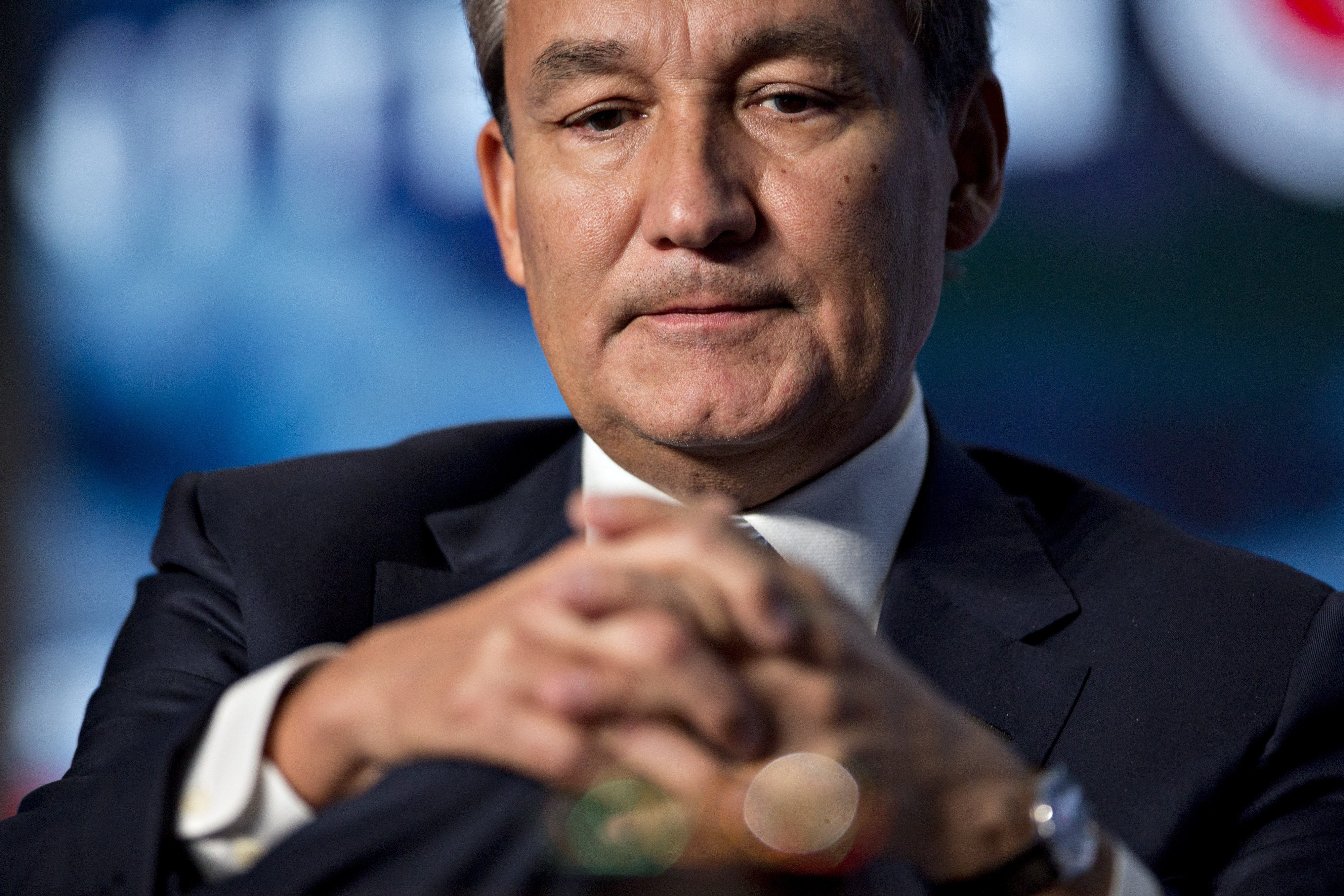 Oscar Munoz, chief executive officer of United Continental Holdings Inc., listens during a discussion at the U.S. Chamber of Commerce aviation summit in Washington, D.C., on March 2, 2017.