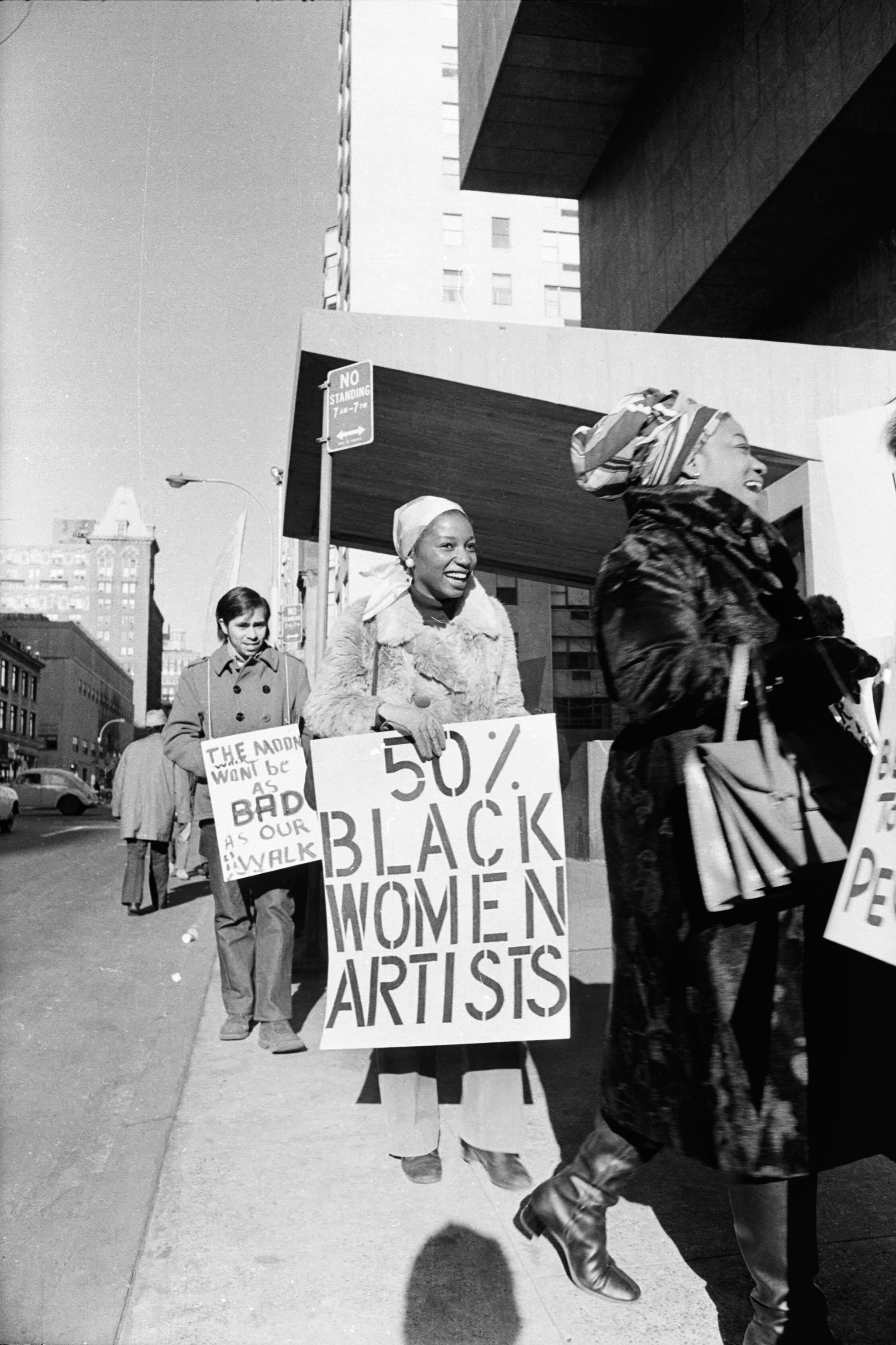 Faith Ringgold, right, and Michele Wallace, center, at Art Workers Coalition Protest at the Whitney Museum in New York City, 1971.