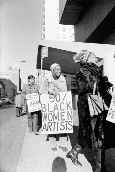 Jan van Raay (American, born 1942). Faith Ringgold (right) and Michele Wallace (middle) at Art Workers Coalition Protest, Whitney Museum, 1971. Digital C-print. Courtesy of Jan van Raay, Portland, OR, 305-37. © Jan van Raay