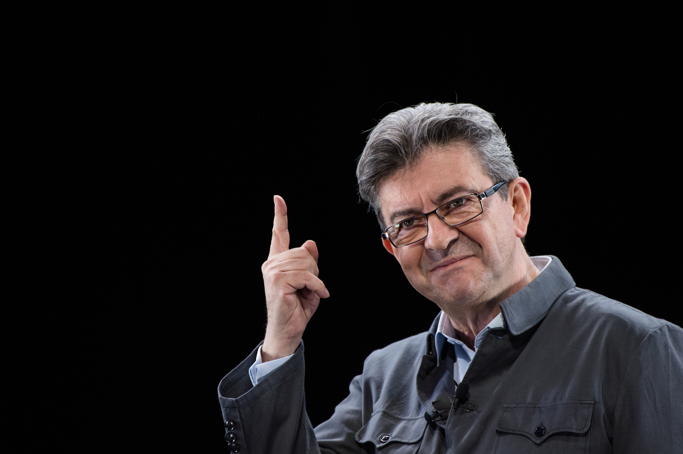 Founder of the left wing movement 'La France Insoumise' and candidate for the 2017 French Presidential Election Jean Luc Melenchon delivers a speech during his meeting on February 5, 2017 in Lyon, France.