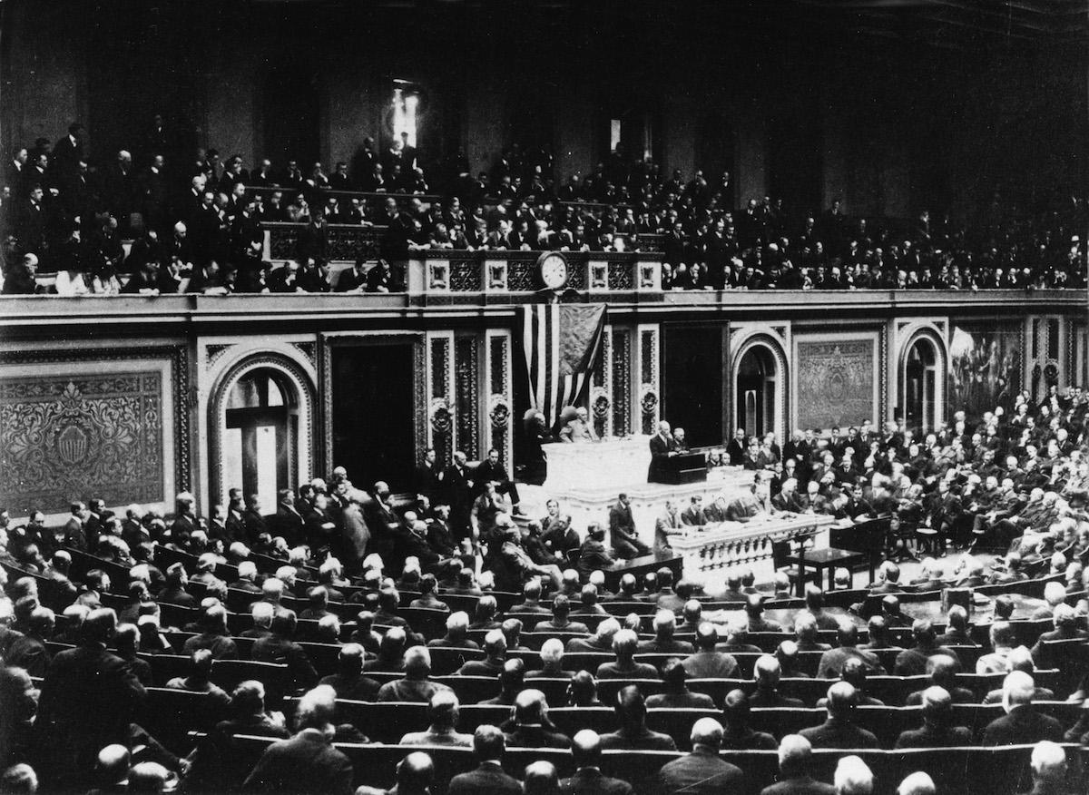 Woodrow Wilson addresses Congress on April 2, 1917.