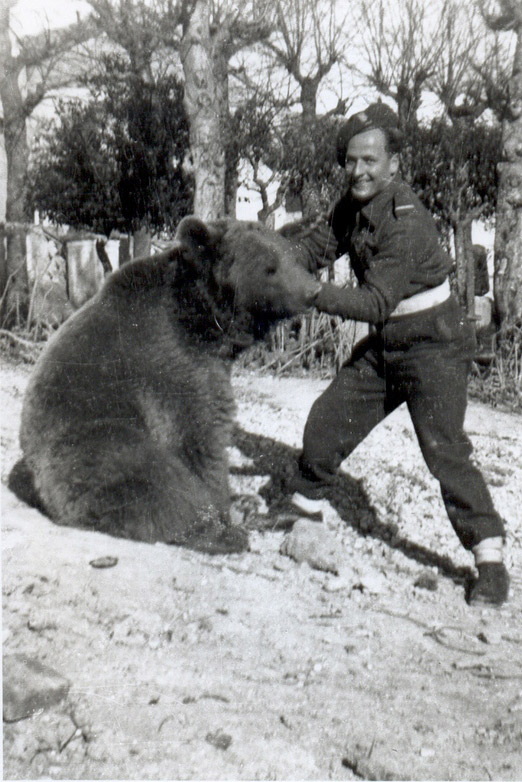Dymitr Szawlugo, a Polish soldier who helped care for the bear, in Italy in late 1944 after the Battle of Monte Cassino.