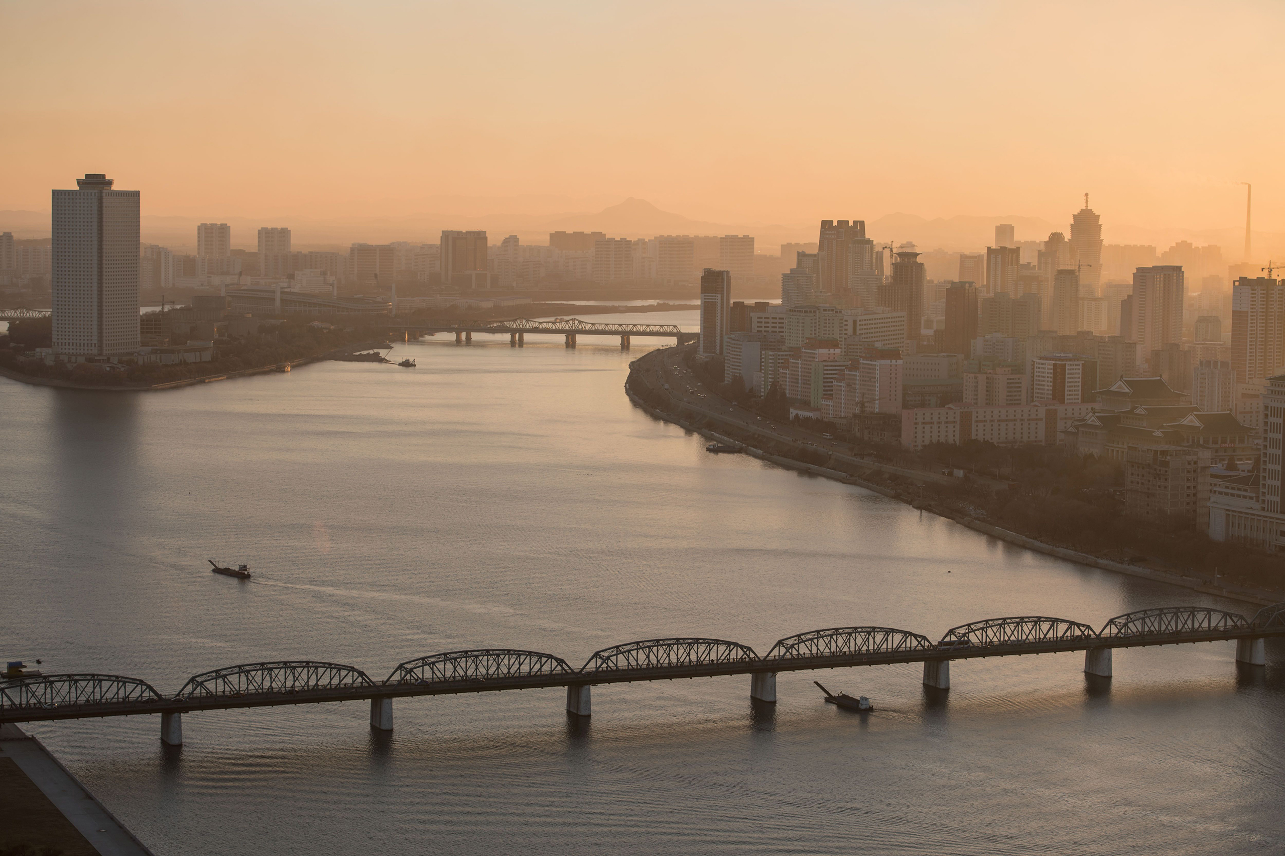 The Yanggakdo hotel, Taedong river and the Pyongyang city skyline on Nov. 28, 2016.