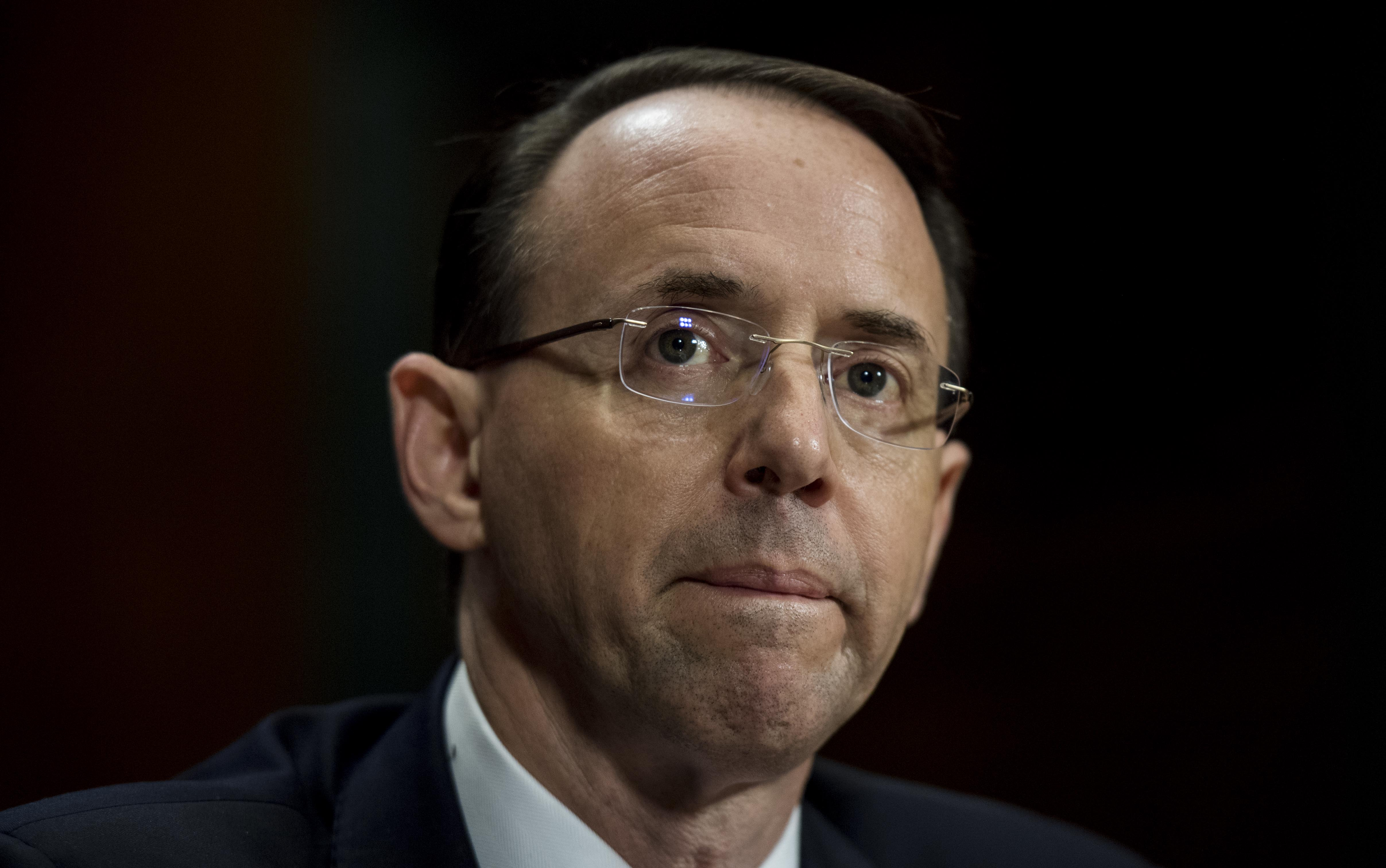 Deputy Attorney General Rod Rosenstein appears before the Senate Judiciary Committee on Capitol Hill in Washington, DC, March 7, 2017.
