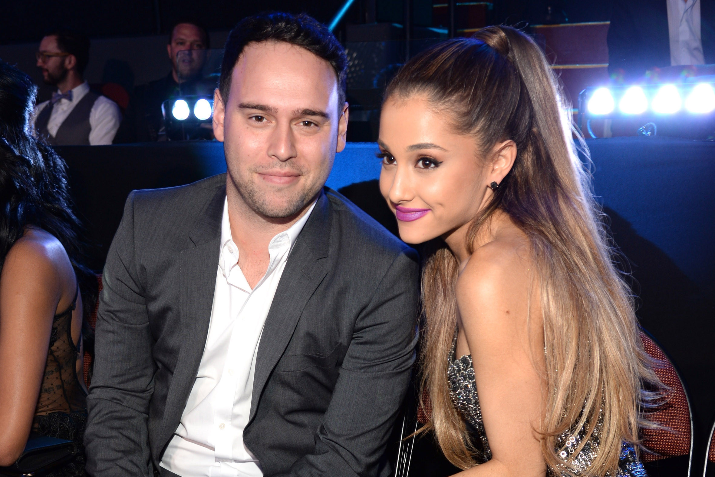 Scooter Braun and Ariana Grande attend the 2014 MTV Video Music Awards at The Forum on August 24, 2014 in Inglewood, California.
