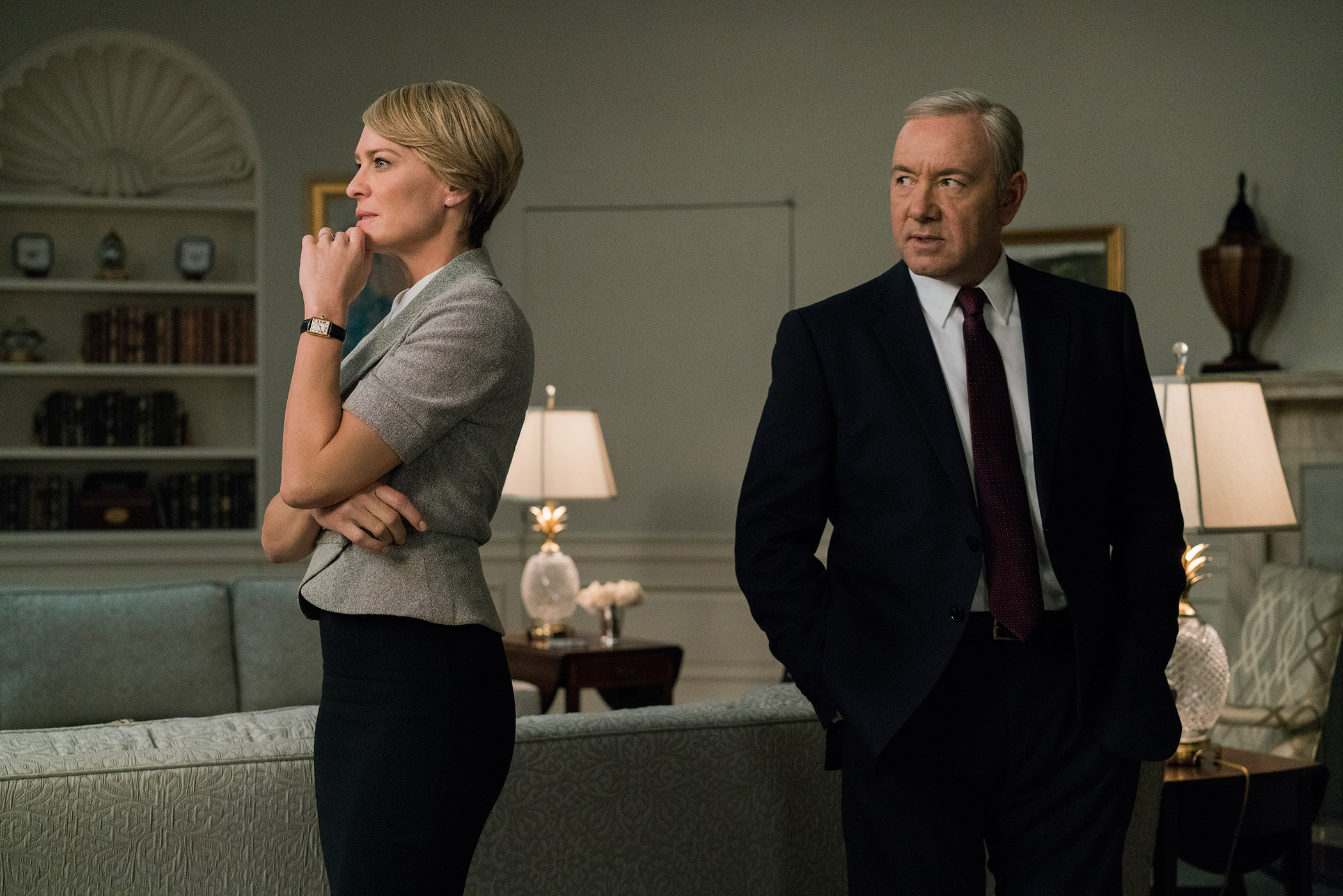 Robin Wright and Kevin Spacey In HOUSE OF CARDS on Netflix