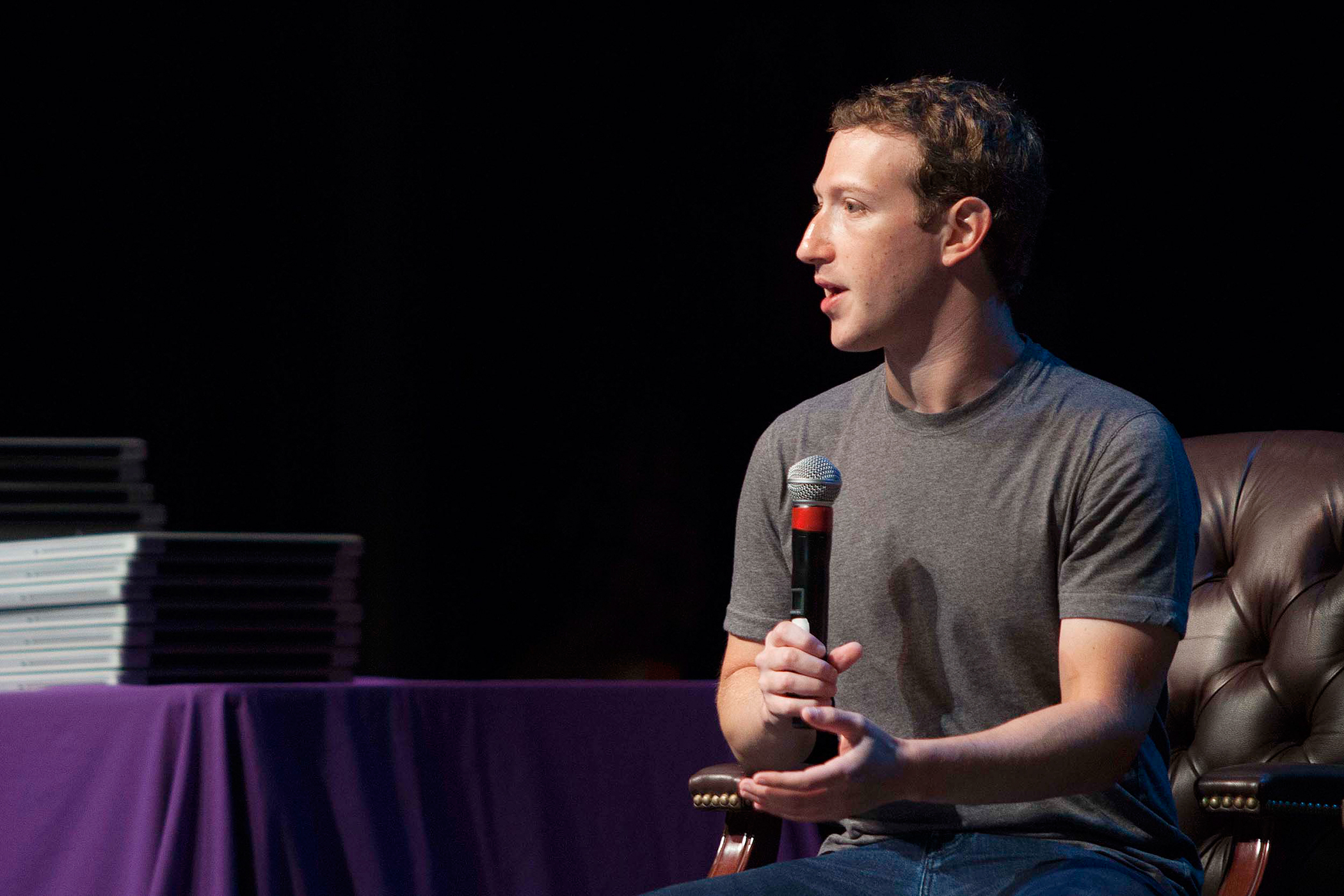 In a Thursday, Sept. 18, 2014 file photo, Facebook CEO Mark Zuckerberg speaks to students during an special assembly at Sequoia High School in Redwood City, Calif.