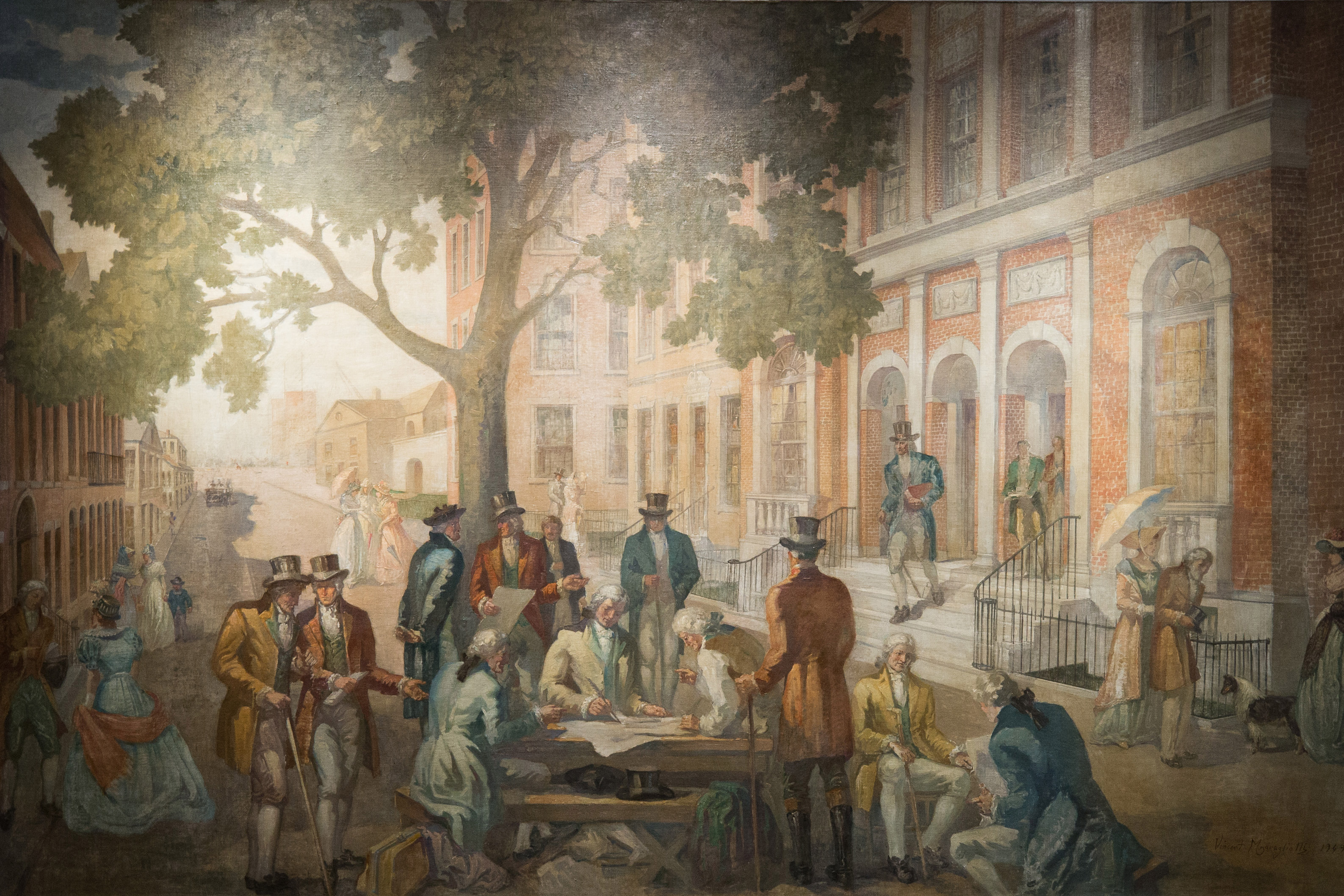 A photo of the restored mural reimagining the signing of the Buttonwood Agreement at 1792, the bar and restaurant at the New York Stock Exchange.