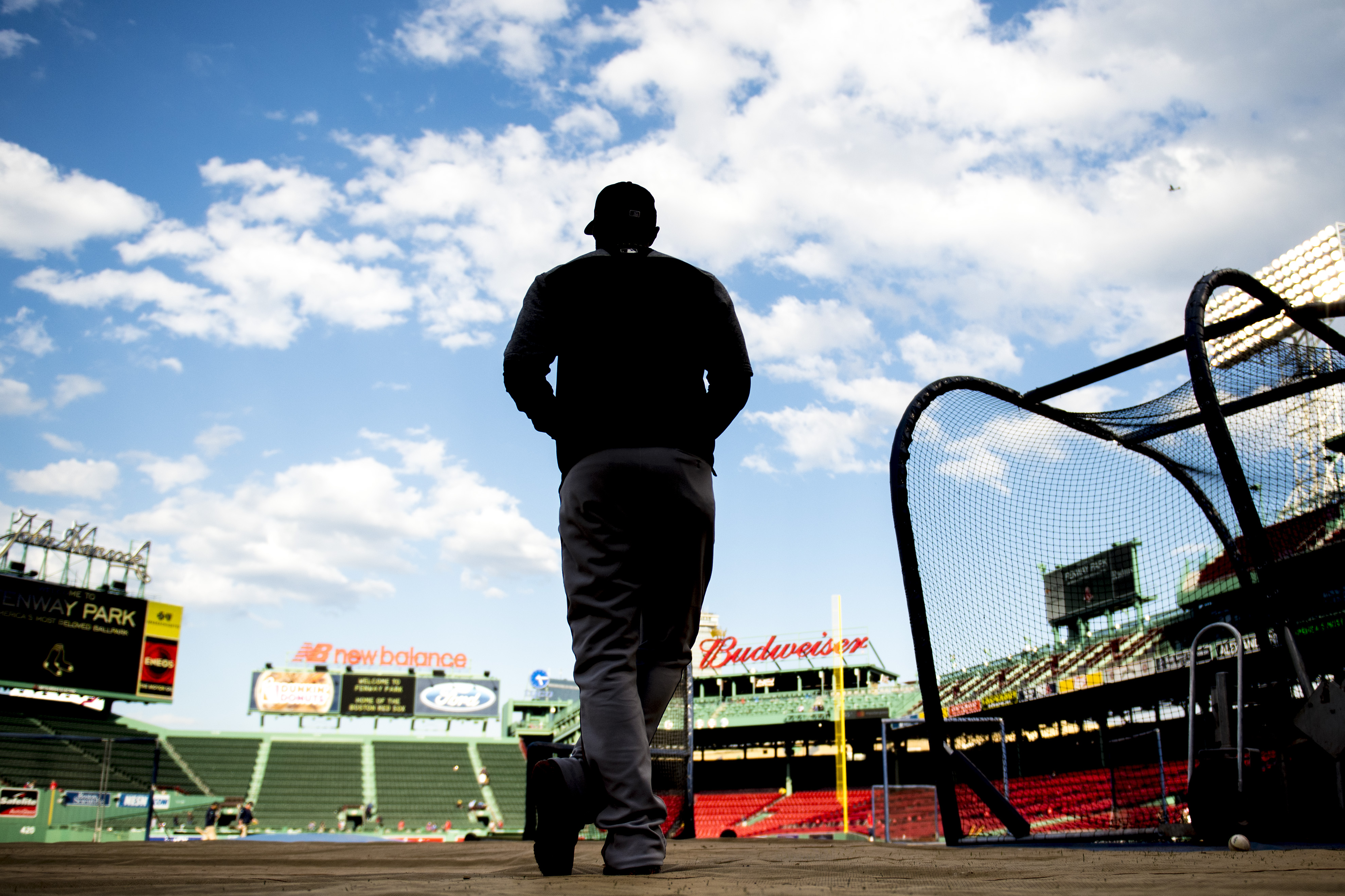 Adam Jones of the Baltimore Orioles looks on before a game against the Boston Red Sox on May 2, 2017 at Fenway Park in Boston.