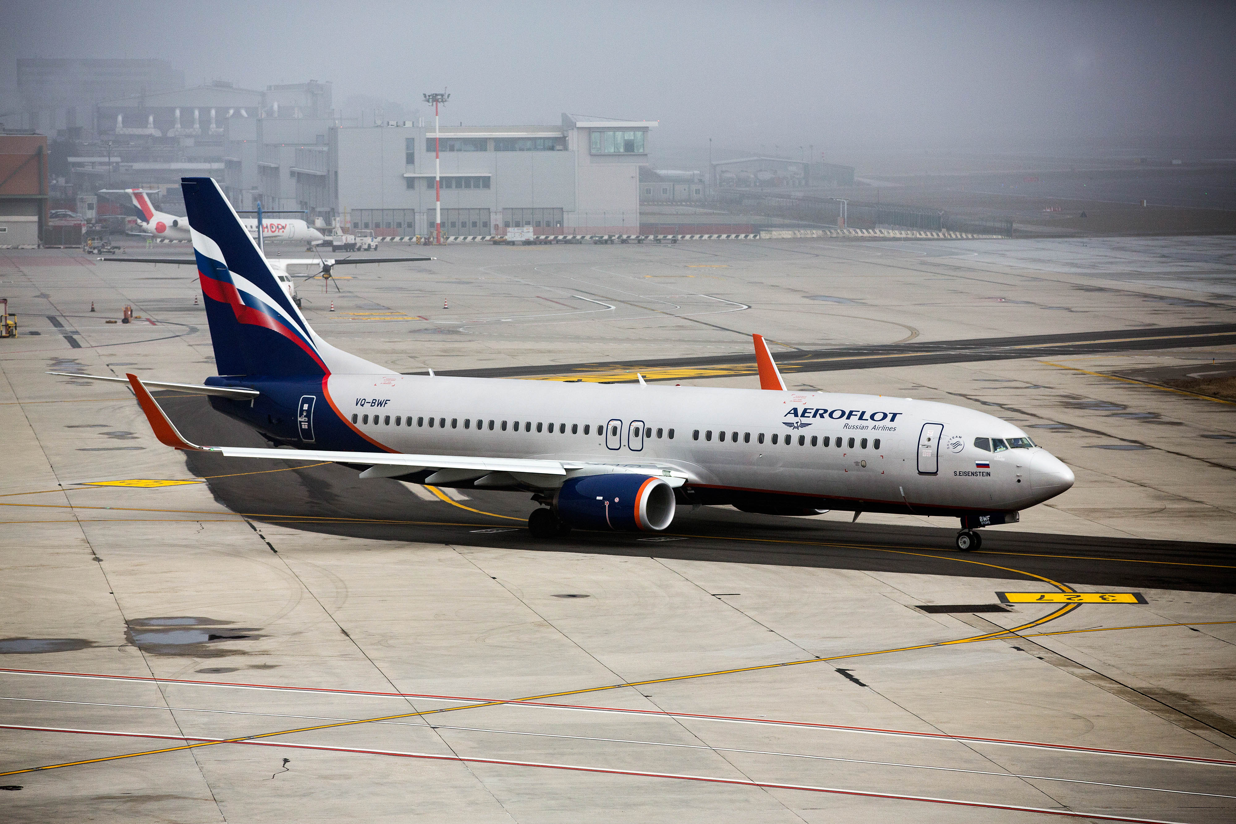A Boeing Co 787 passenger aircraft, operated by Aeroflot - Russian Airlines PJSC, taxis on the tarmac at Venice Marco Polo Airport (VCE) in Venice, Italy, on Monday, Feb. 1, 2016.