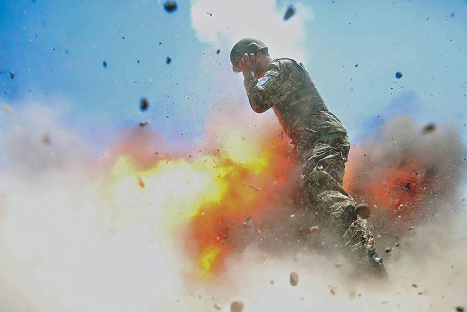 A mortar tube accidentally explodes during an Afghan National Army live-fire training exercise in Laghman Province, Afghanistan, on July 2, 2013.