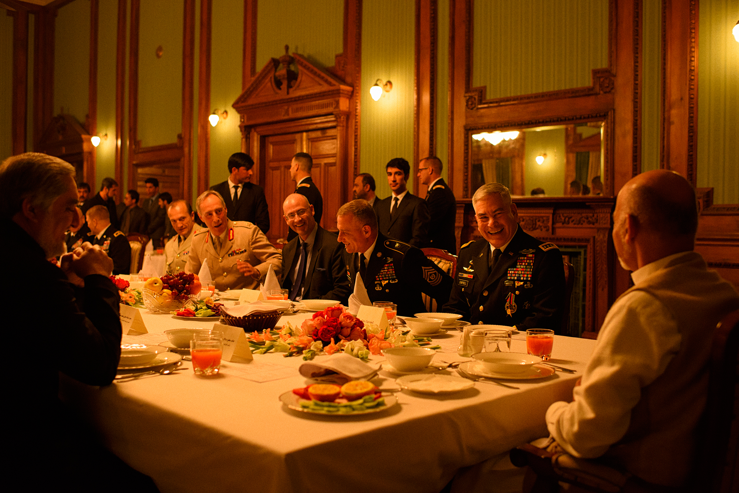 Ghani attends a dinner at the palace with Gen. John Campbell, commander of U.S. forces in Afghanistan, in February 2016 before Campbell retired.
