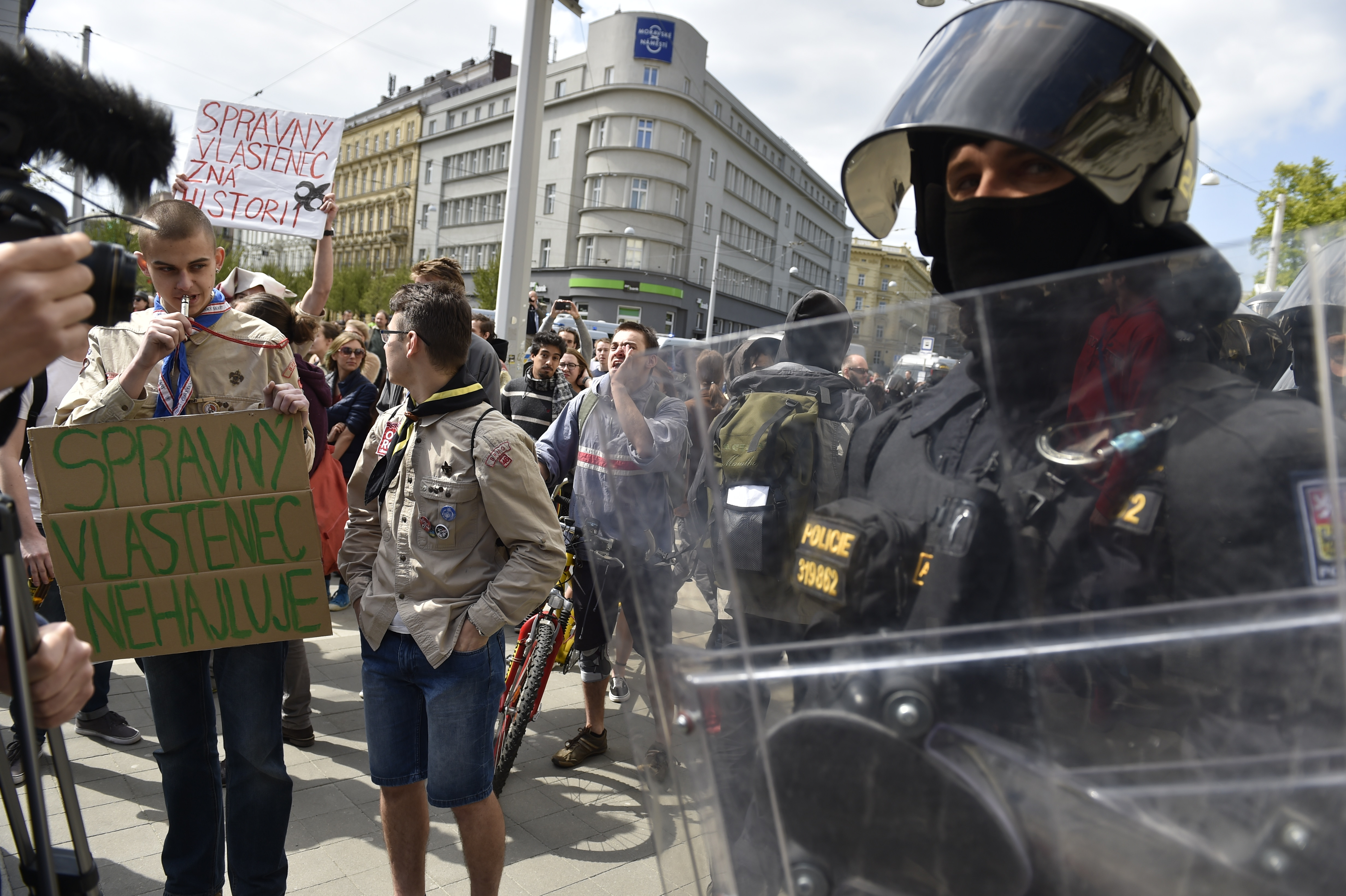 Ultra-right supporters clashed with their opponents or anti-fascists during a May Day rally in the centre of Brno, the second largest Czech town, Czech Republic, May 1, 2017.